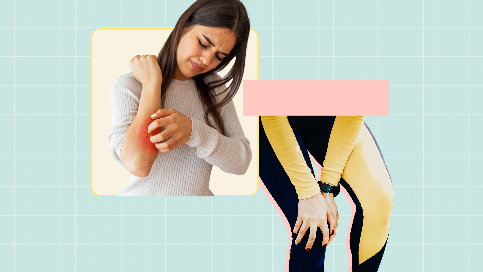 A composite image of a woman itching her arm and another woman holding her knee