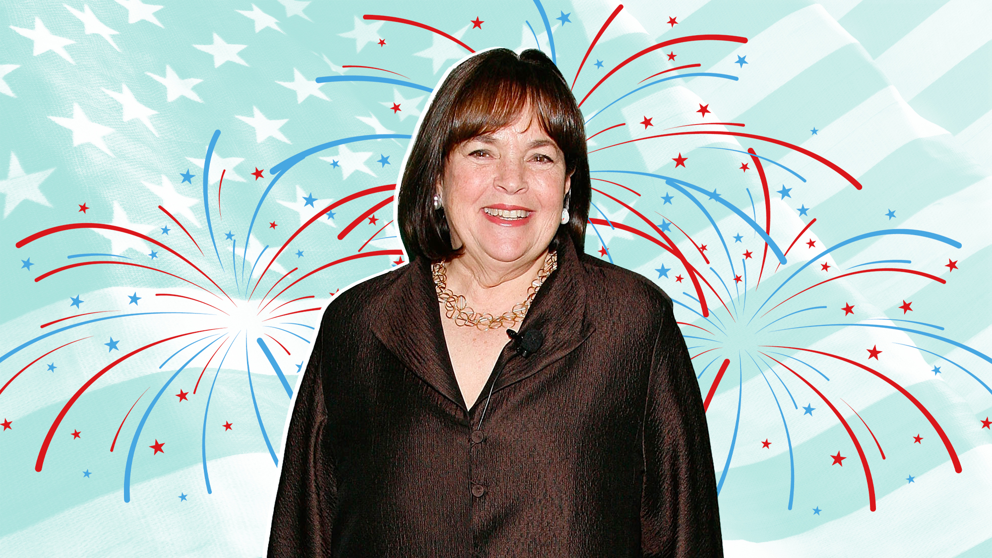 Ina Garten on a 4th of July Themed background