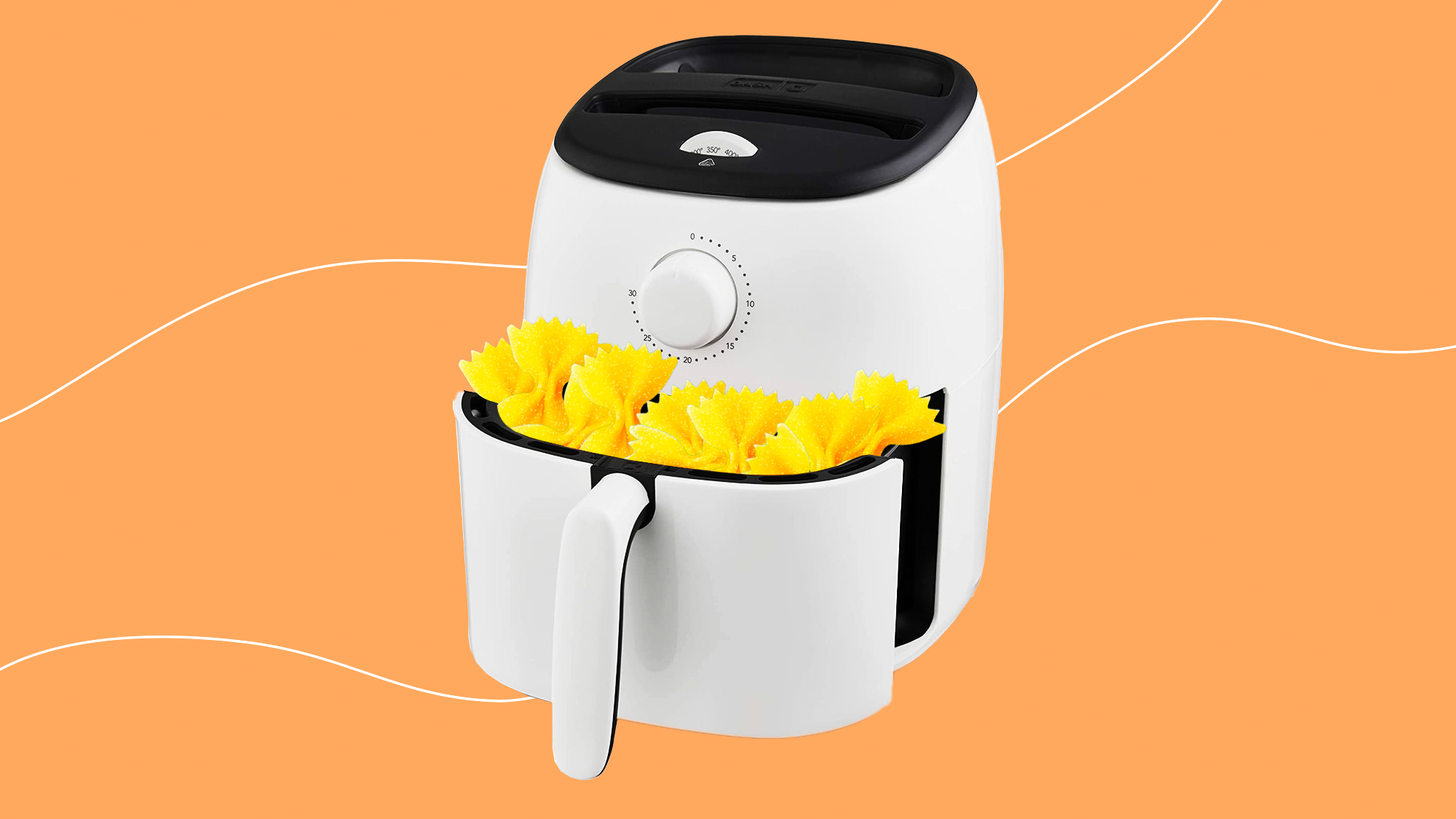 Bow tie pasta in an air-fryer on a designed background