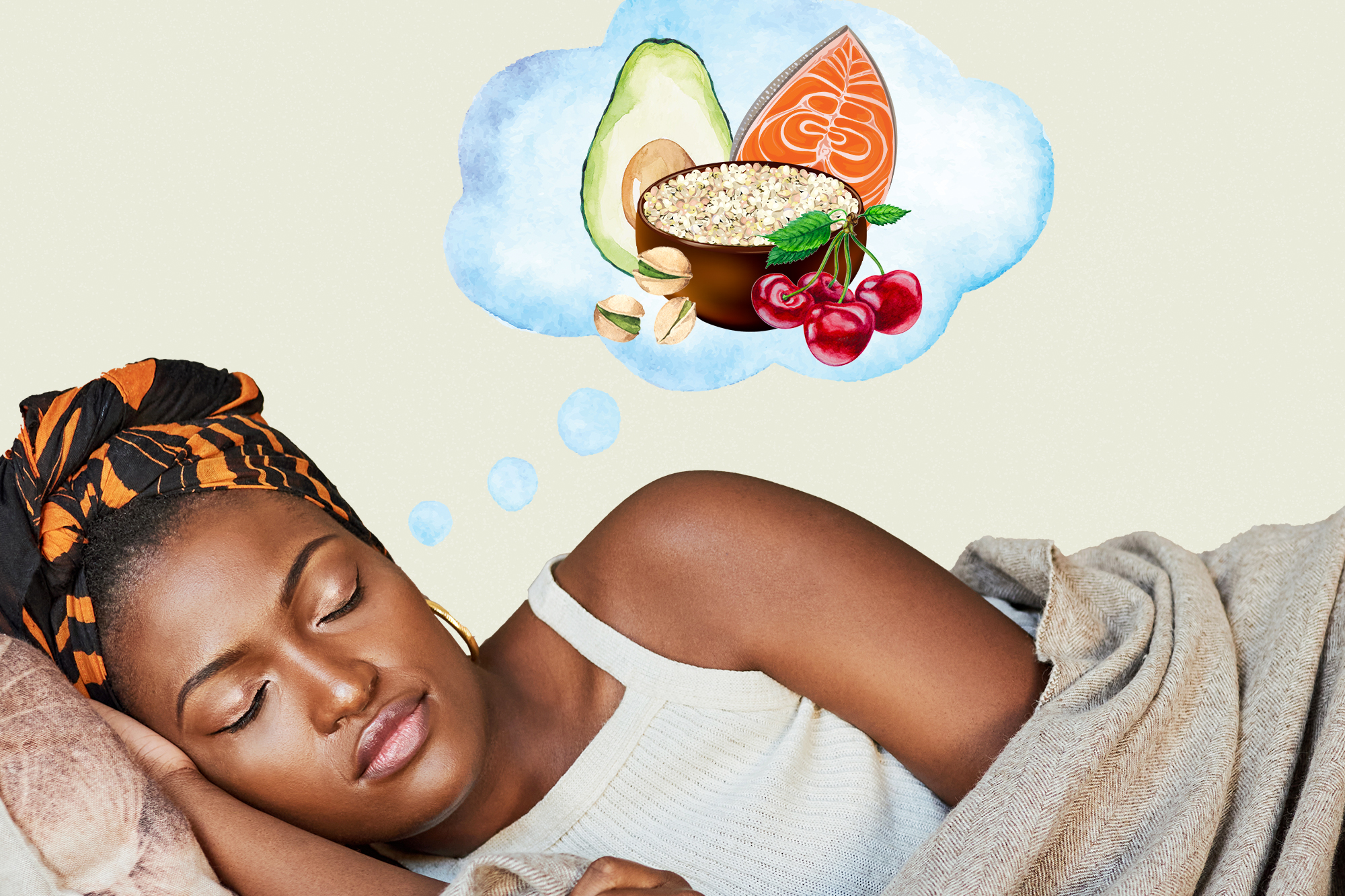 A woman sleeping with a thought bubble with food items from the Mediterranean diet