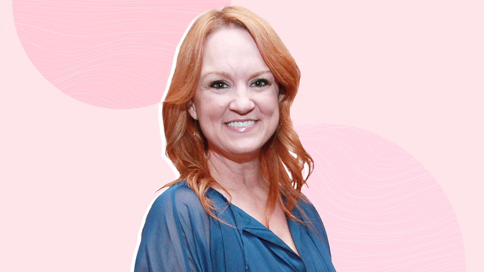 Ree Drummond on a designed background