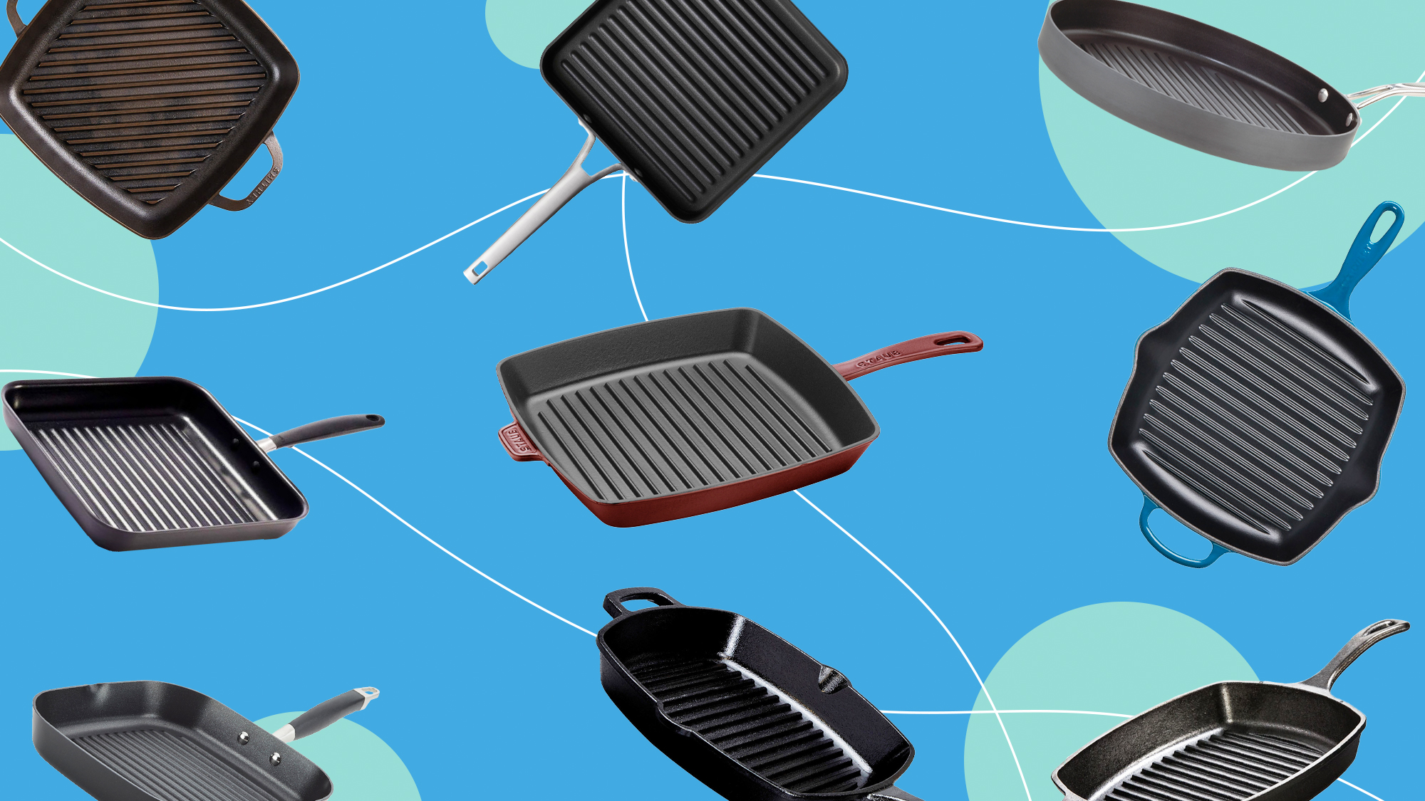 9 grill pans on a designed background