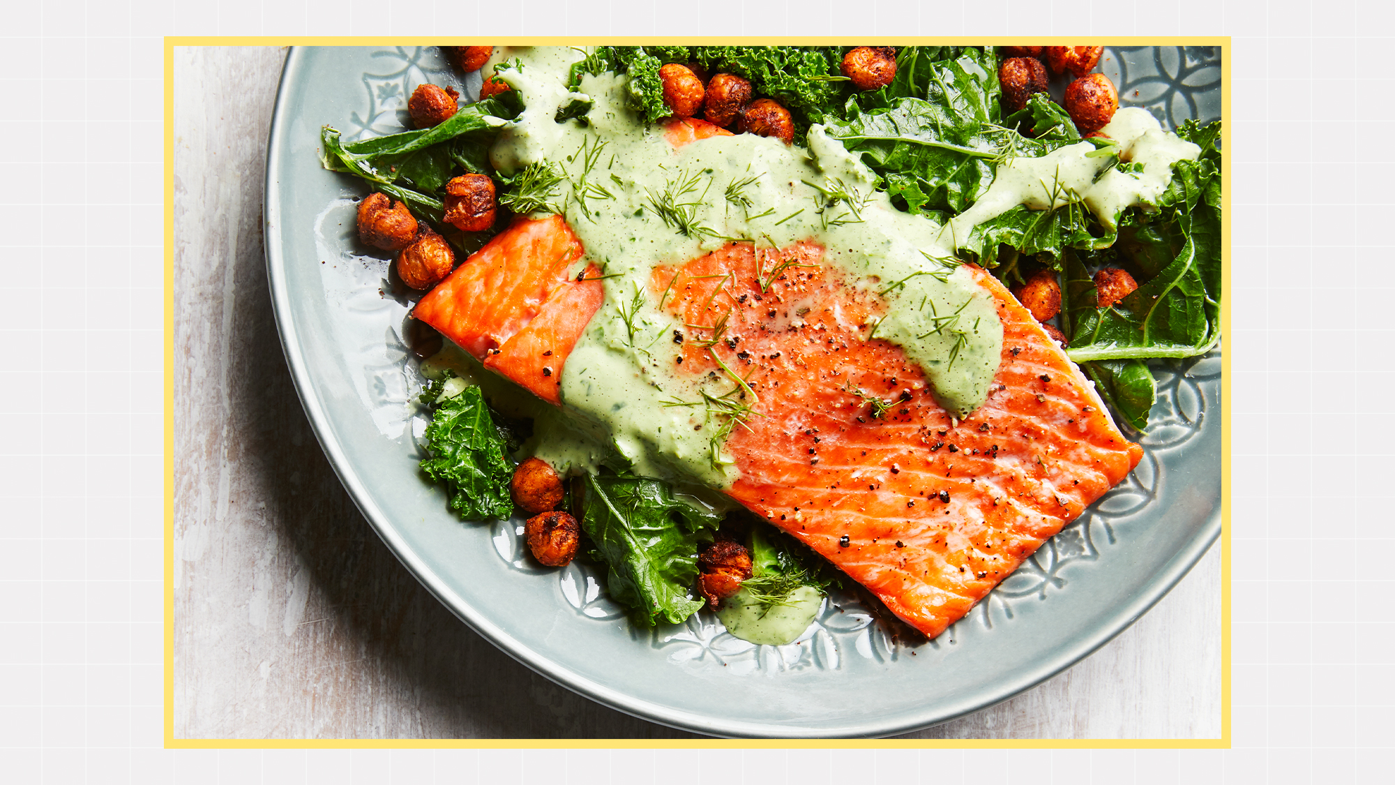 Roasted Salmon with Smoky Chickpeas & Greens with a designed background