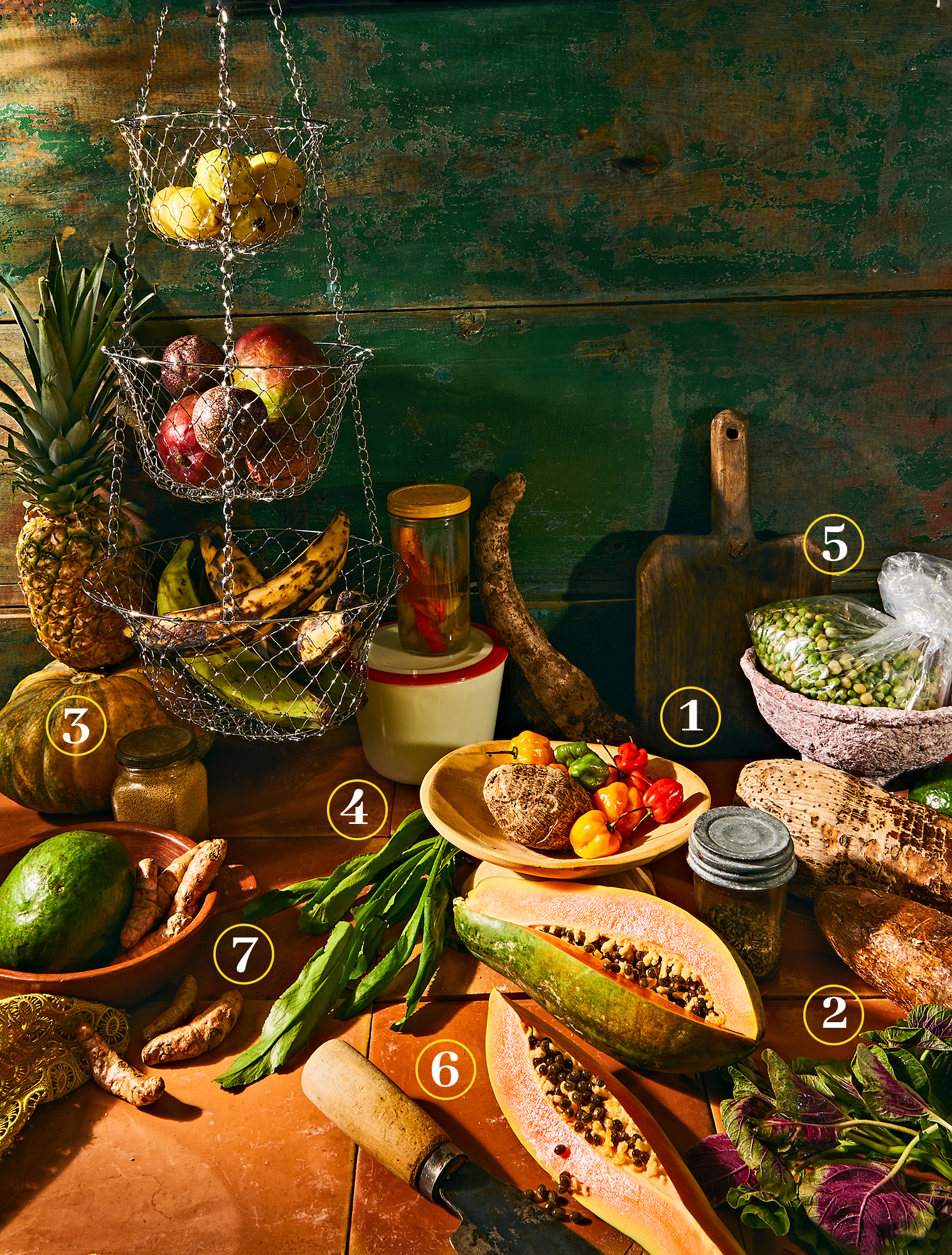 A variety of produce sitting on a orange tile surface with a green painted wooden surface in the background