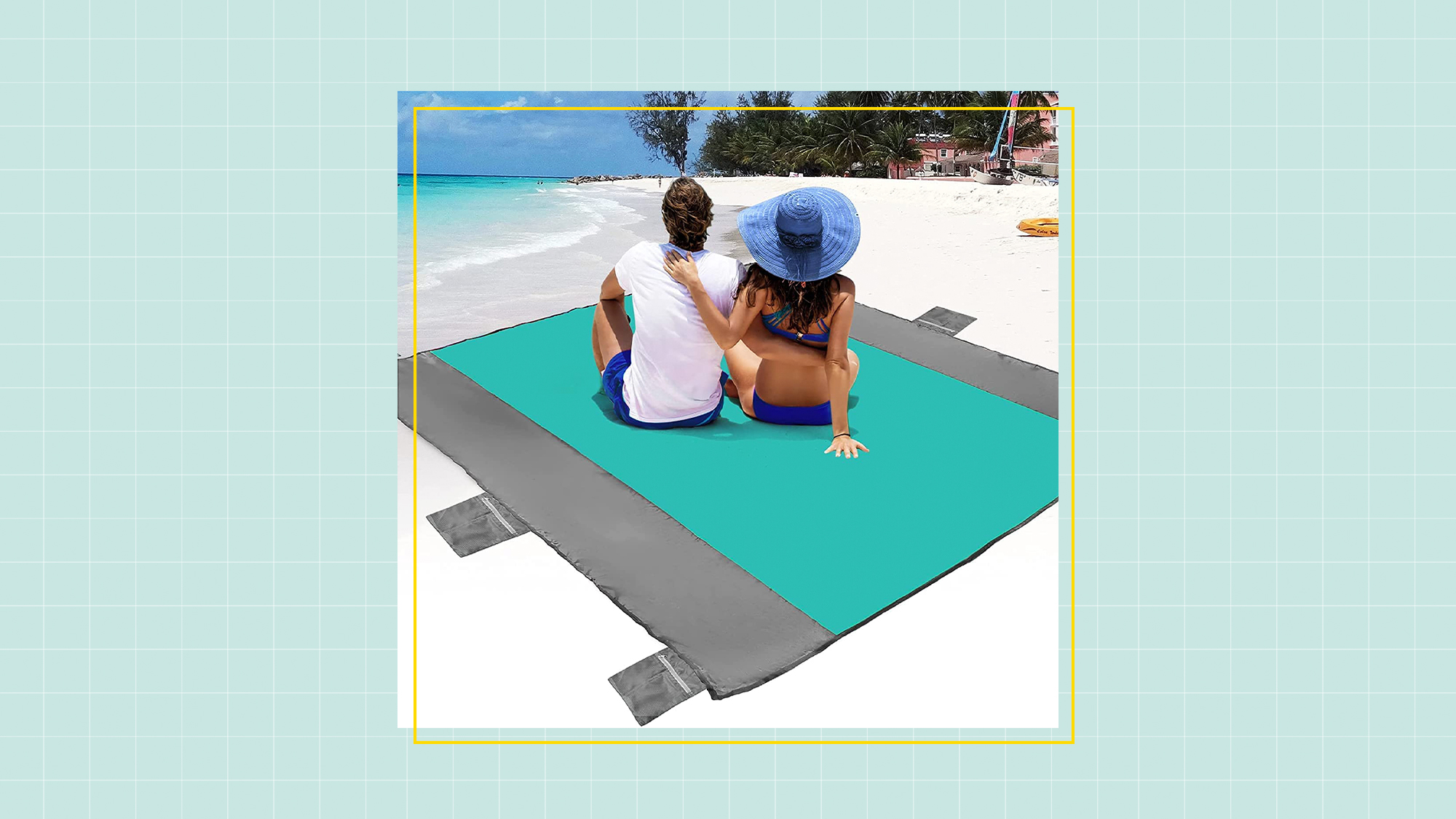 POPCHOSE Sandfree Beach Blanket, Large Sandproof Beach Mat for 4-7 Adults