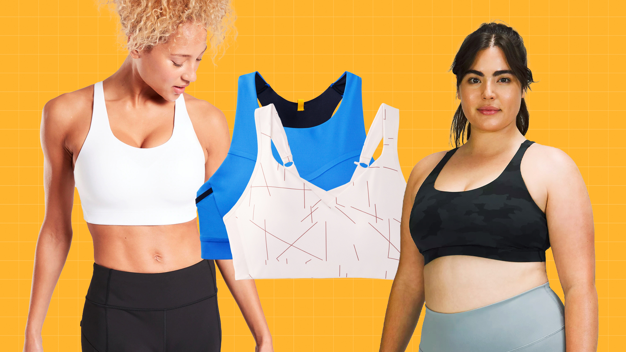 two women wearing sports bras and two sports bras on a designed background