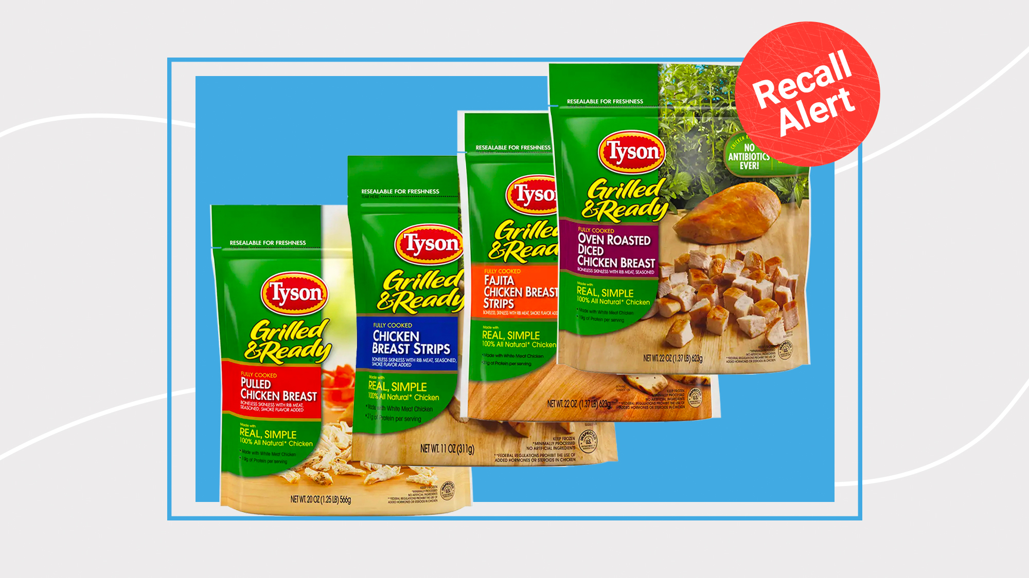 Fully cooked Tyson Frozen chicken products on a designed background with a recall alert button