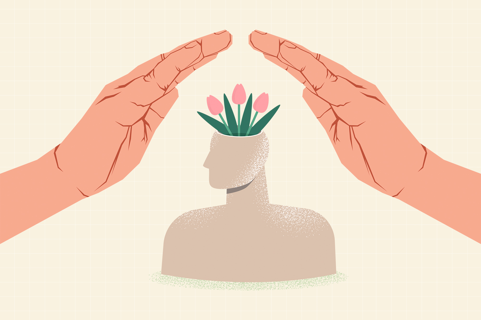 hands hovering over and protecting a simple illustration of a person with flowers growing out of their head