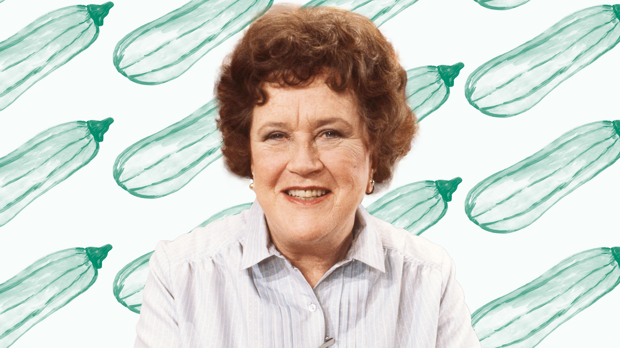 Julia Child on a designed background of zucchinis