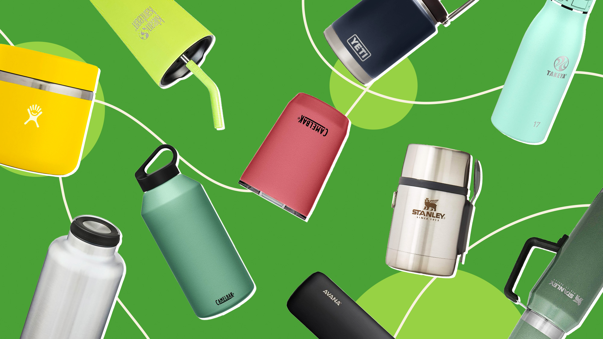 A selection of insulated water bottles on a designed background