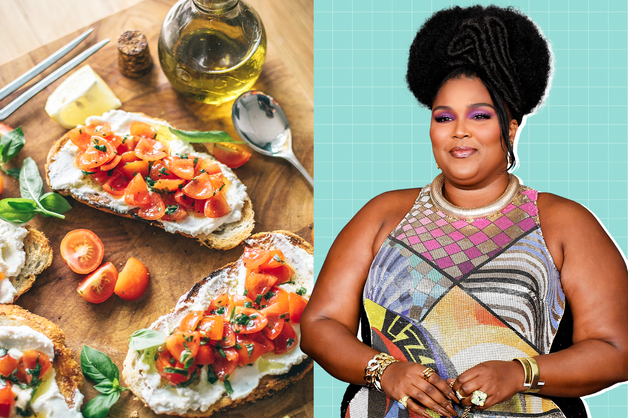 An image split in half. One half with Lizzo on a designed background and the other a photo of Ricotta toast with tomatoes