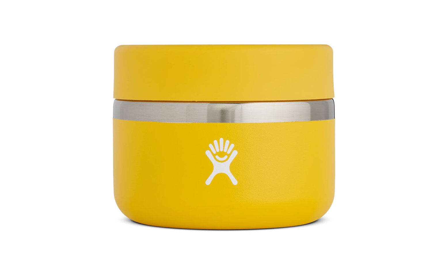side view of yellow insulated container with lid