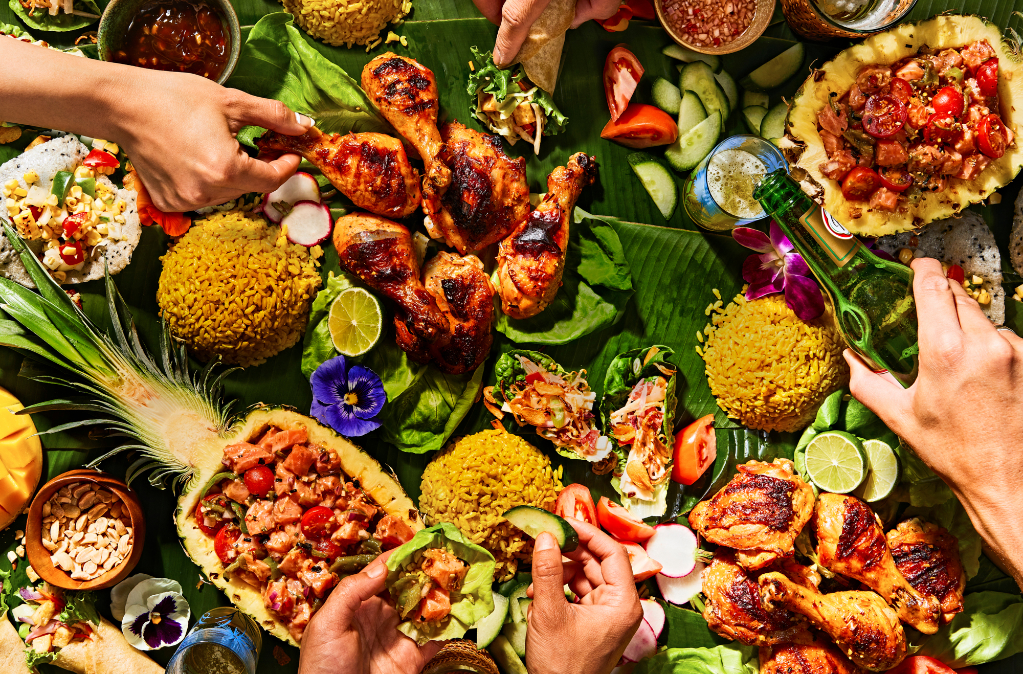 A top view of a Filipino Feast