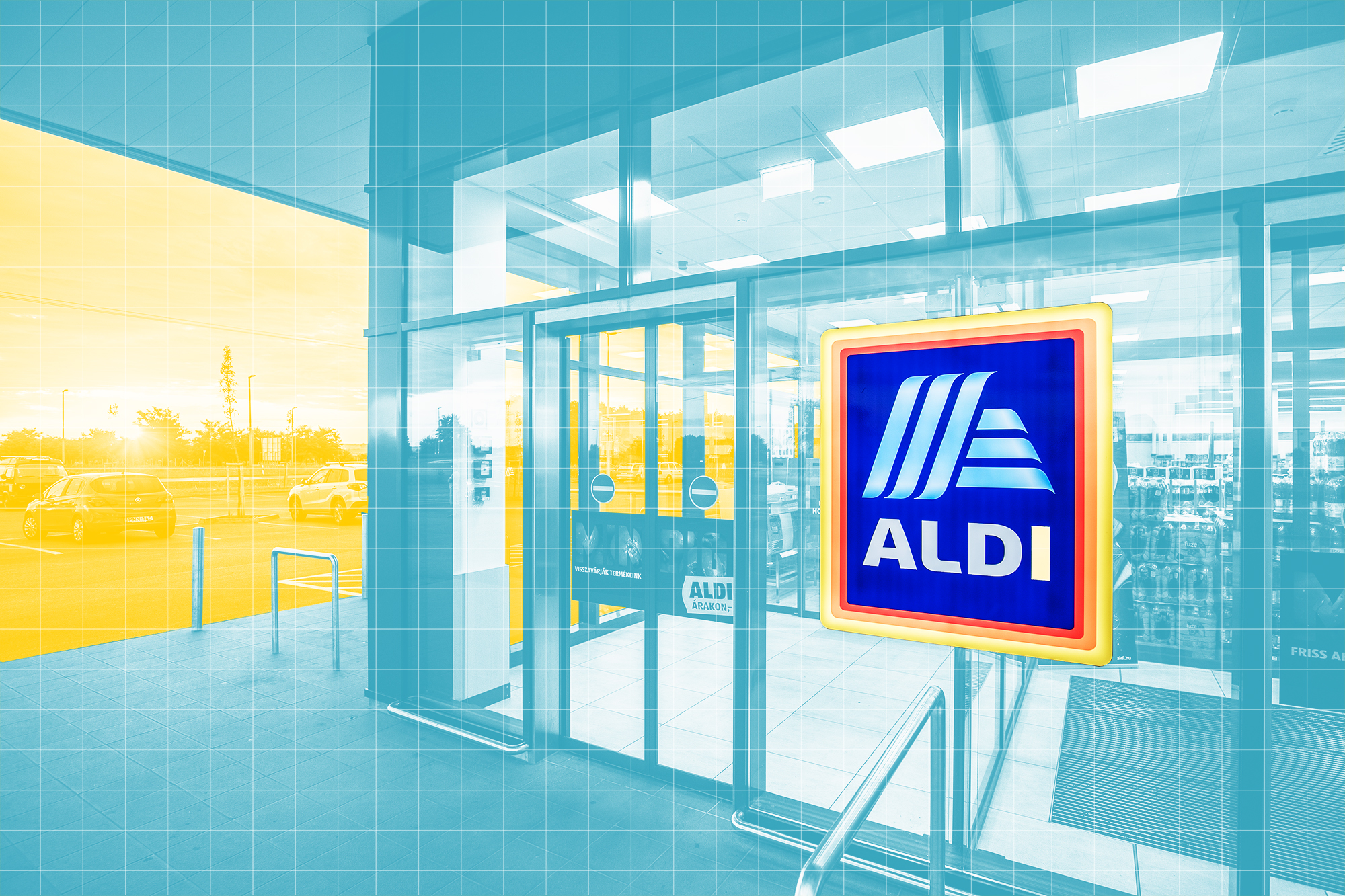 Aldi store front with a designed treatment