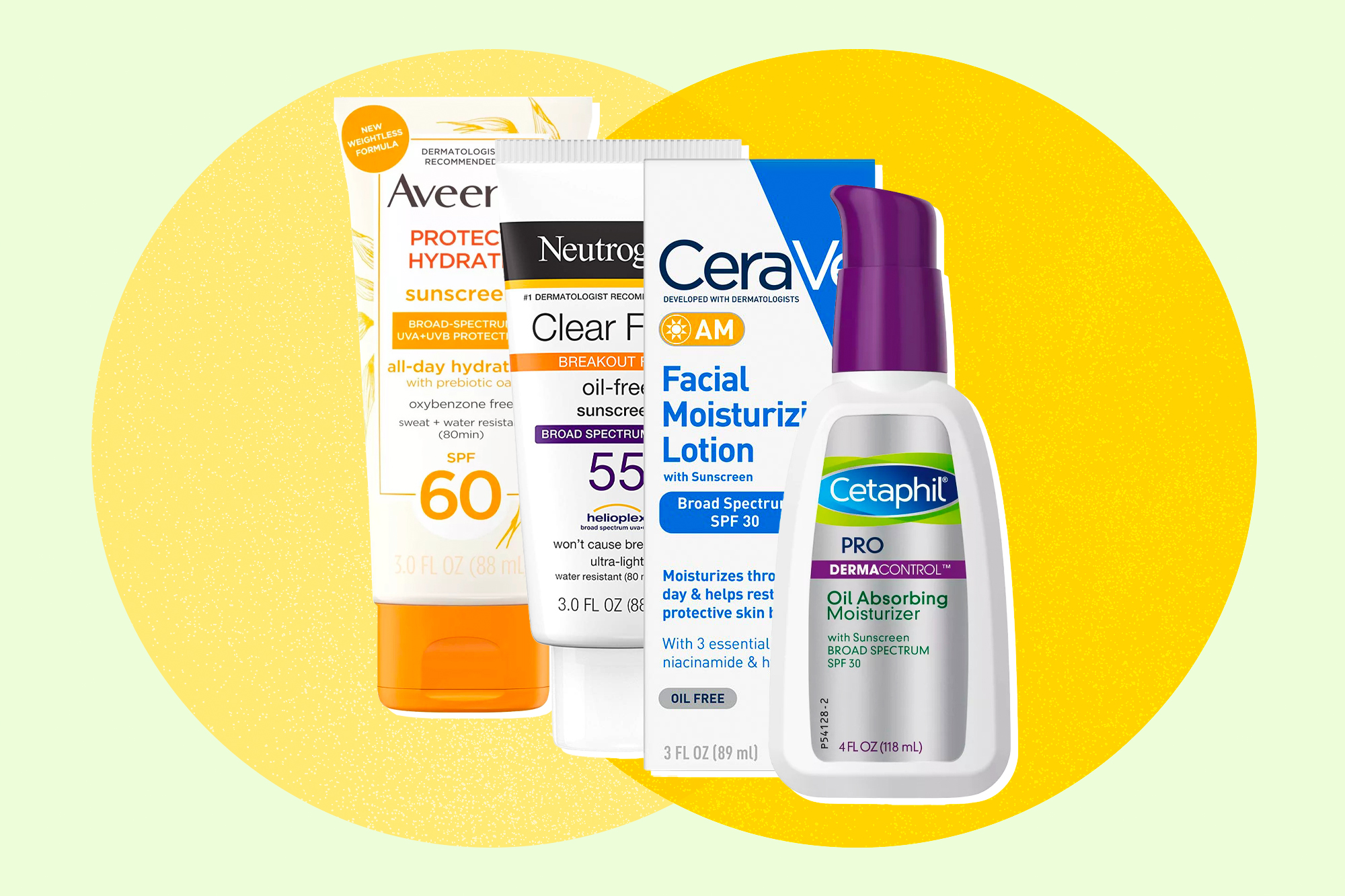 A selection of sunscreens on a designed background