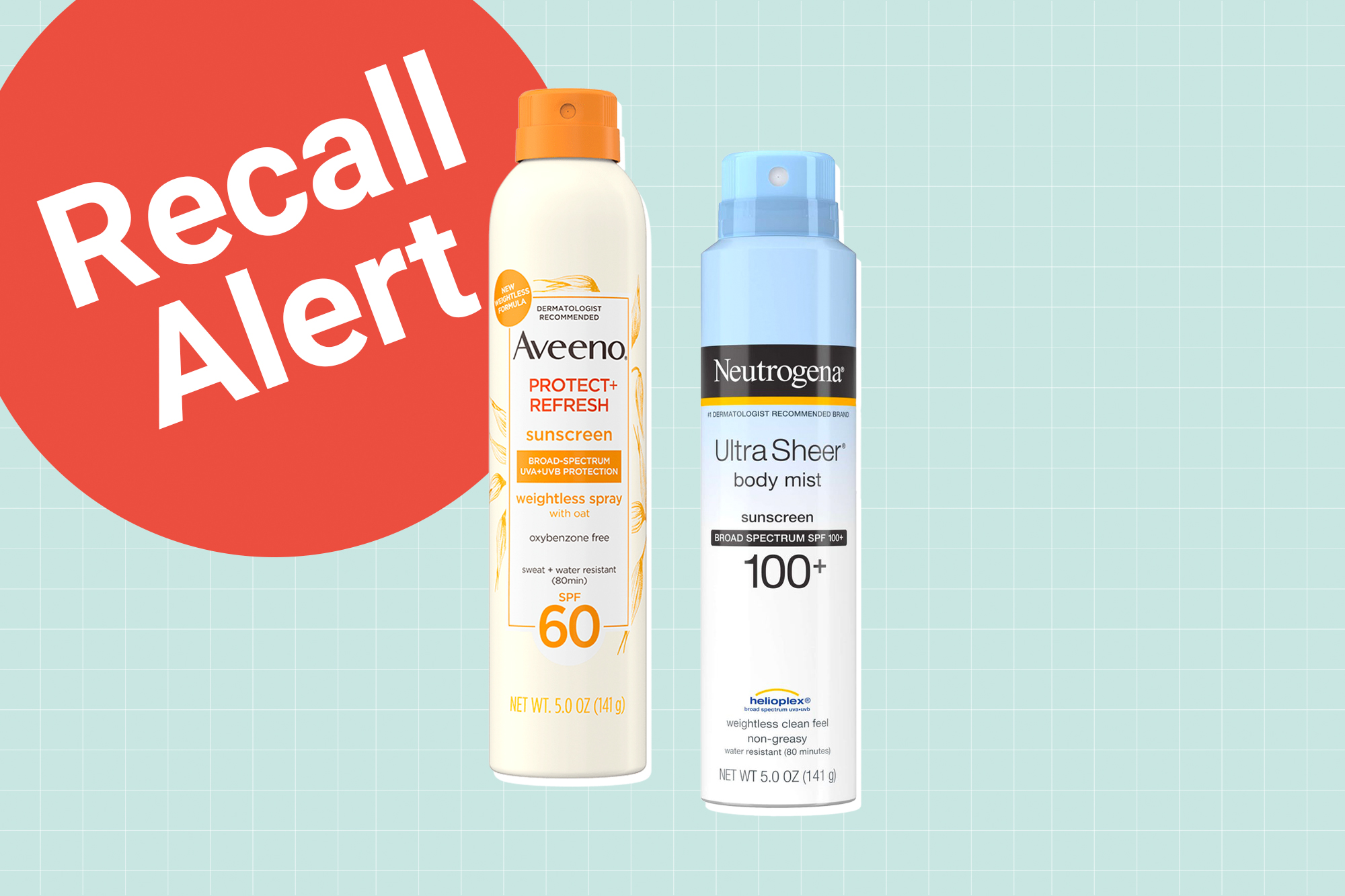 2 spray on sunscreens by Aveeno and Neutrogena on a designed background with a recall button