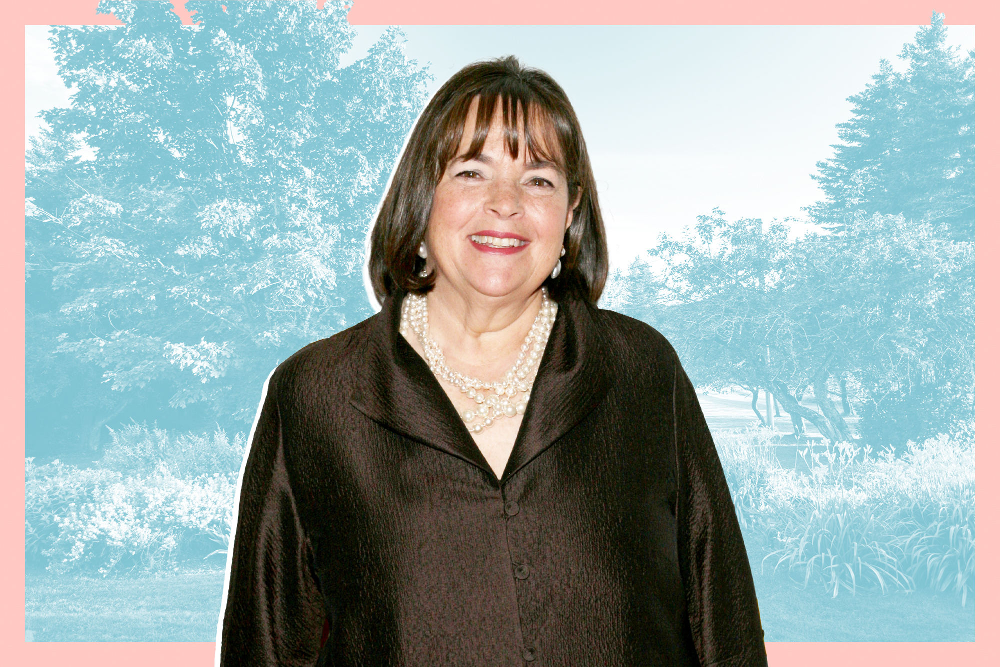 Ina Garten on a designed background that includes a photo of a garden