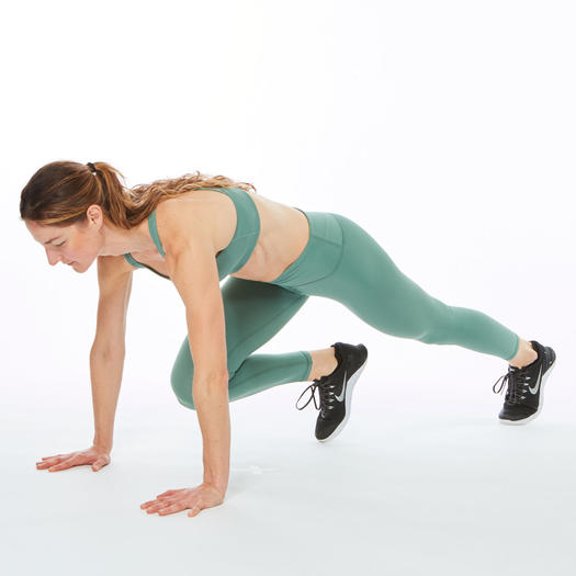 woman with leg extended