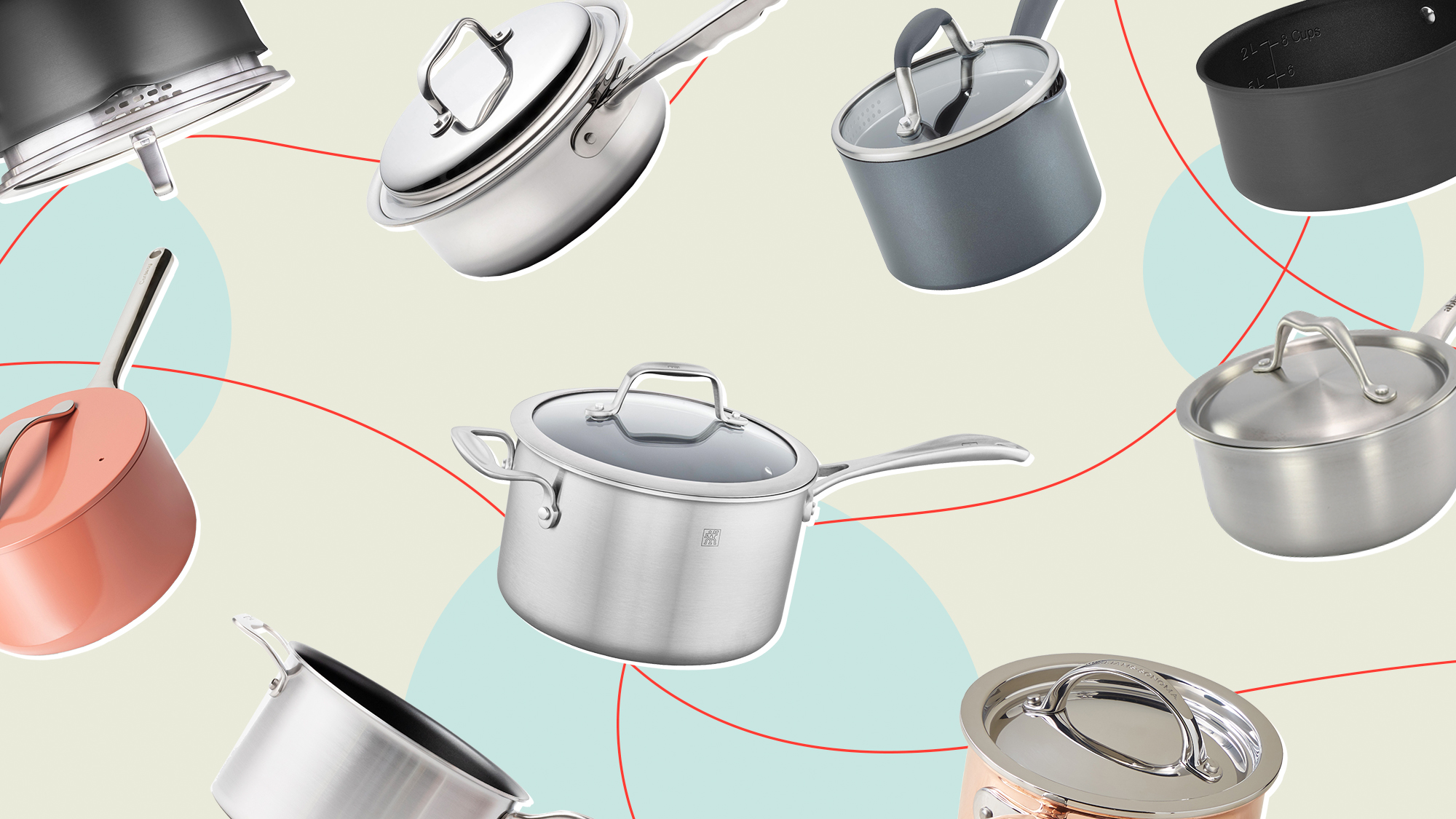 A collection of sauce pans on a designed background