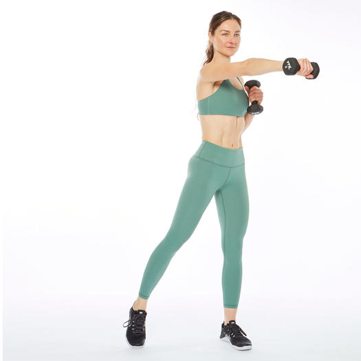 Woman jabbing with weight