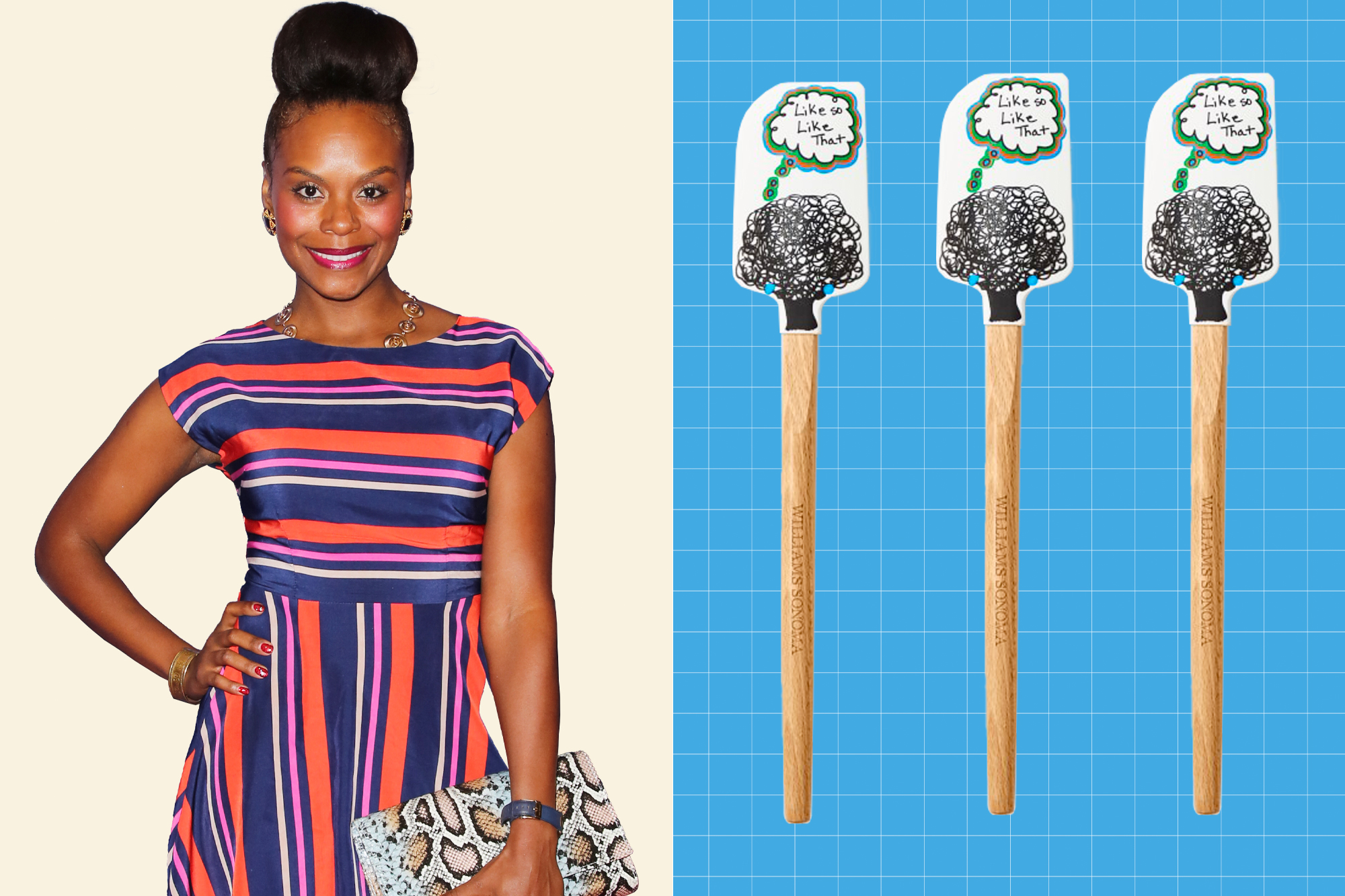No Kid Hungry Tools for Change Silicone Spatula, Tabitha Brown and a portrait of Tabitha Brown on a designed background