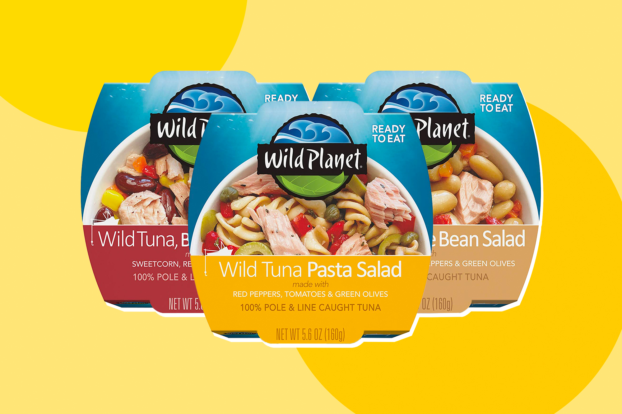 Wild Planet Ready-To-Eat Wild Tuna on a designed background