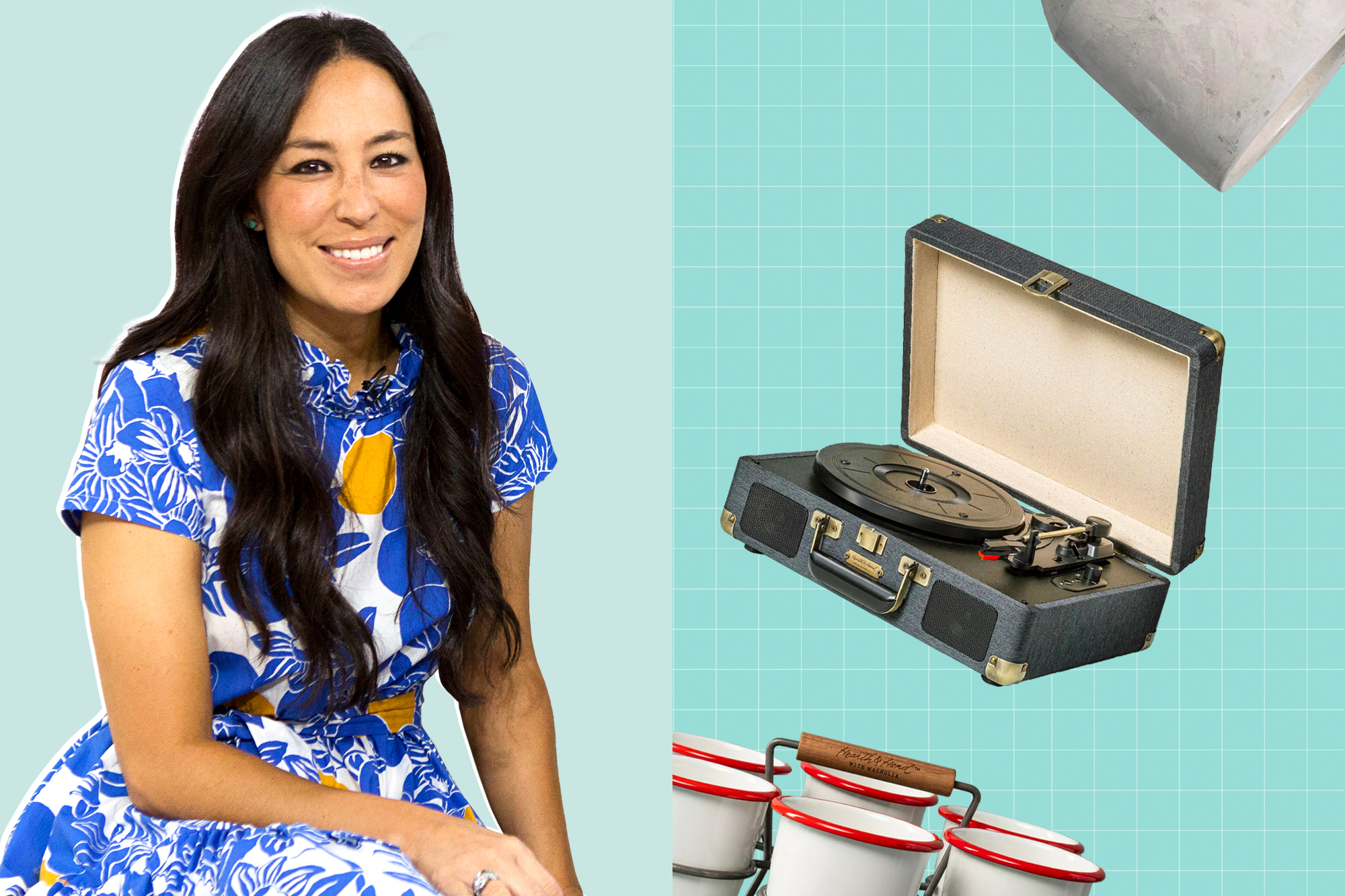 Joanna Gaines next to a selection of home products from Target