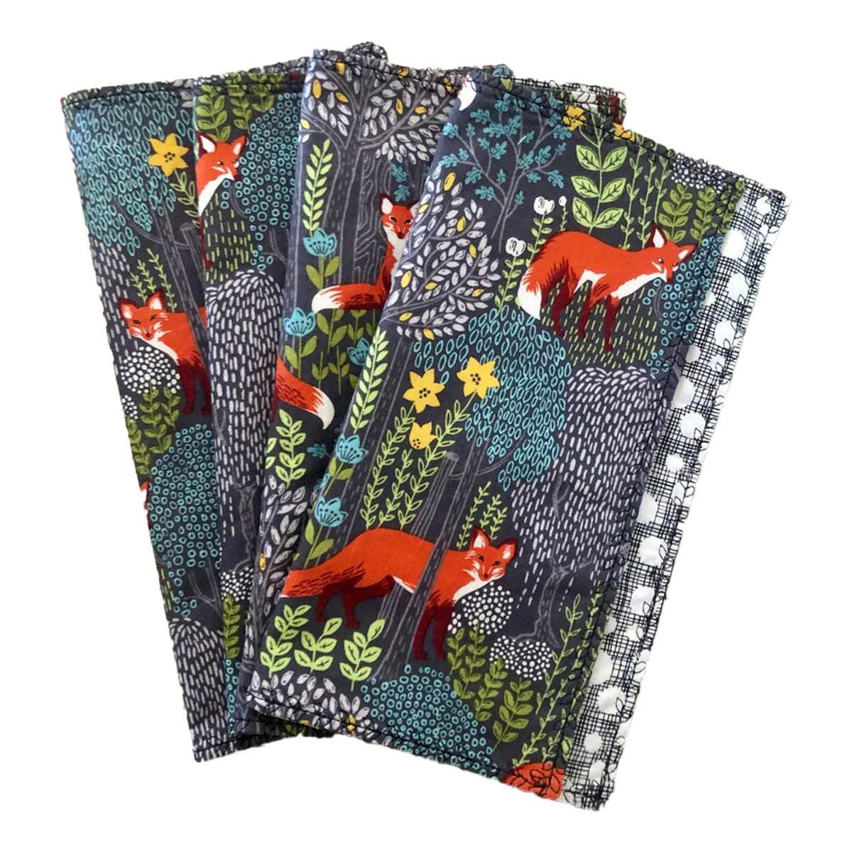 """Squeakymo - Cloth Napkins - Set of 4 OR 6 Michael Miller Into the Woods - 100% Cotton - 9""""x9"""" Napkins - Double Sided - Everyday Napkins - Table Napkins"""