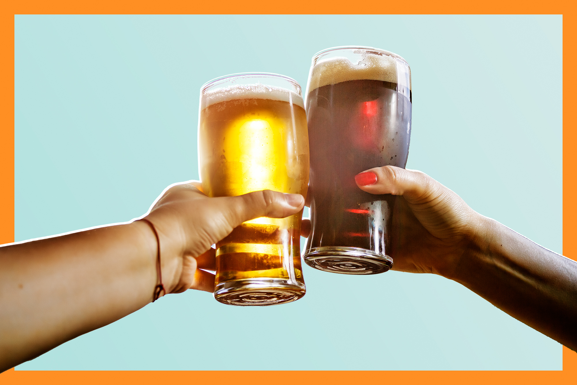 two people clanking beer classes together on a designed background