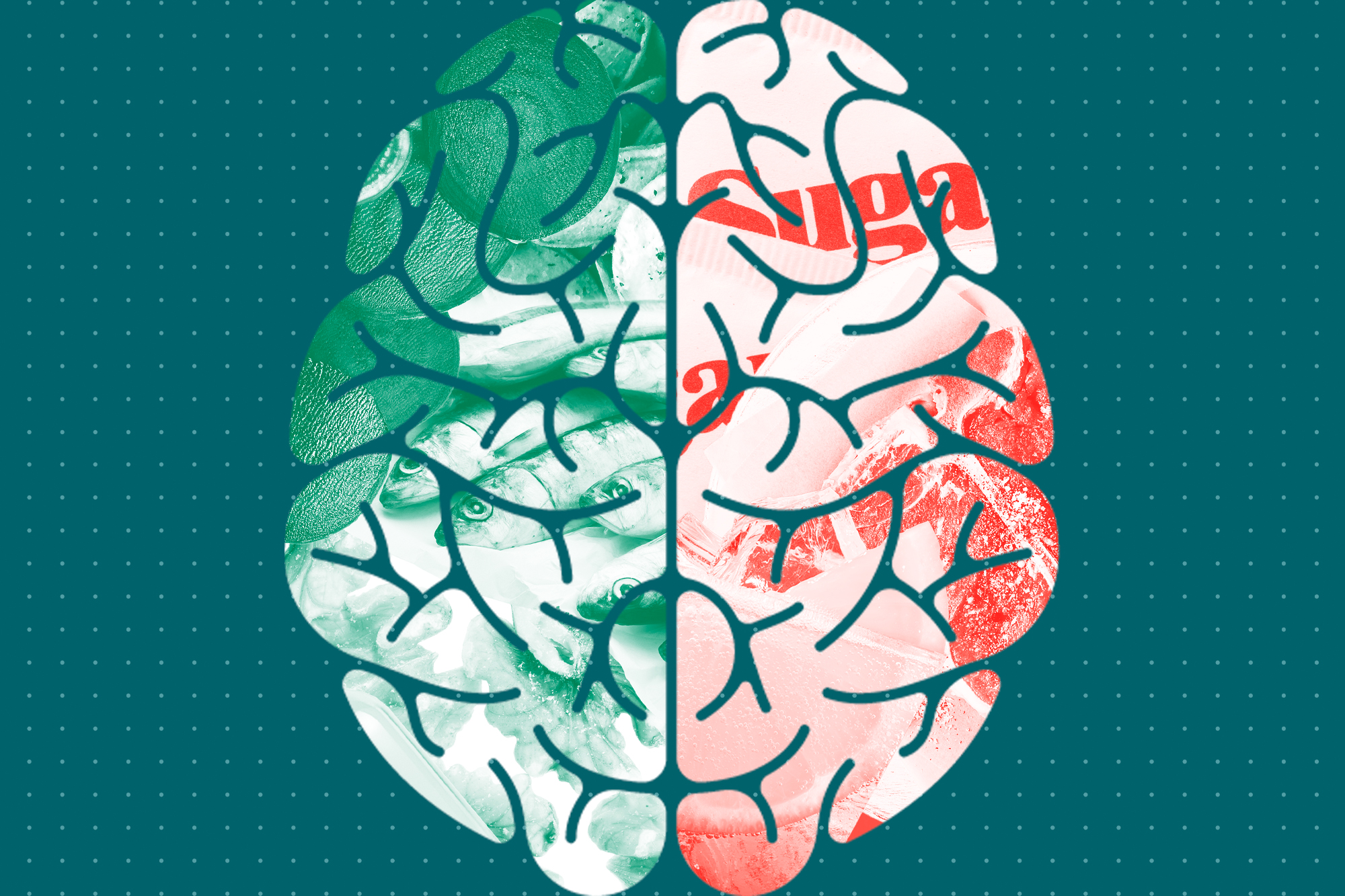 An illustration of a brain split in half. One half has healthy food and the second half has unhealthy foods for your brain