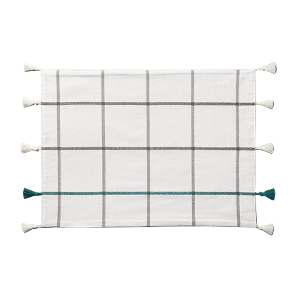 Windowpane Plaid Tassel Placemat Teal/Gray - Hearth & Hand™ with Magnolia