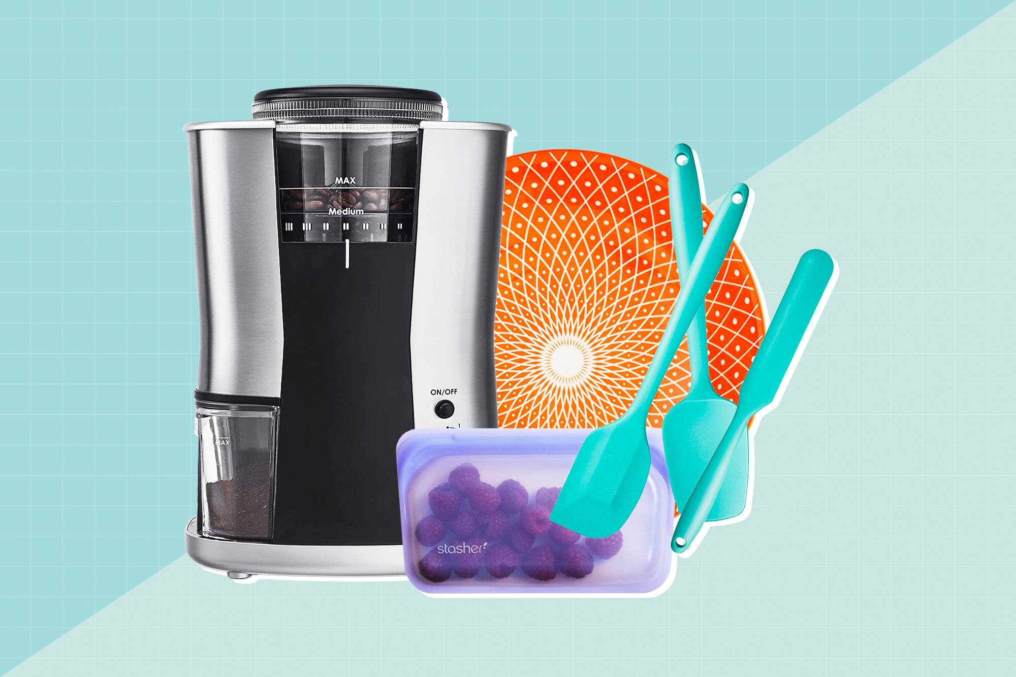 A collection of home goods from amazon on a designed background