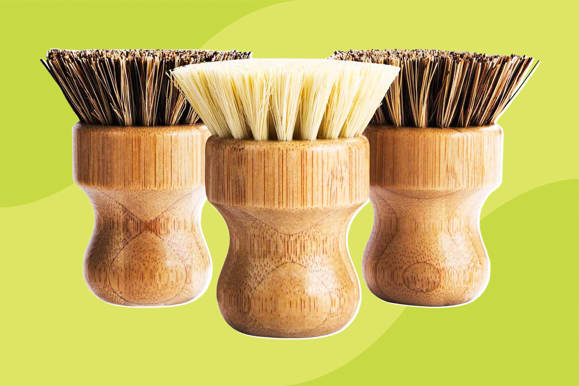 Palm Pot Brush- Bamboo Round 3 Packs Mini Dish Brush Natural Scrub Brush Durable Scrubber Cleaning Kit with Union Fiber and Tampico Fiber for Cleaning Pots