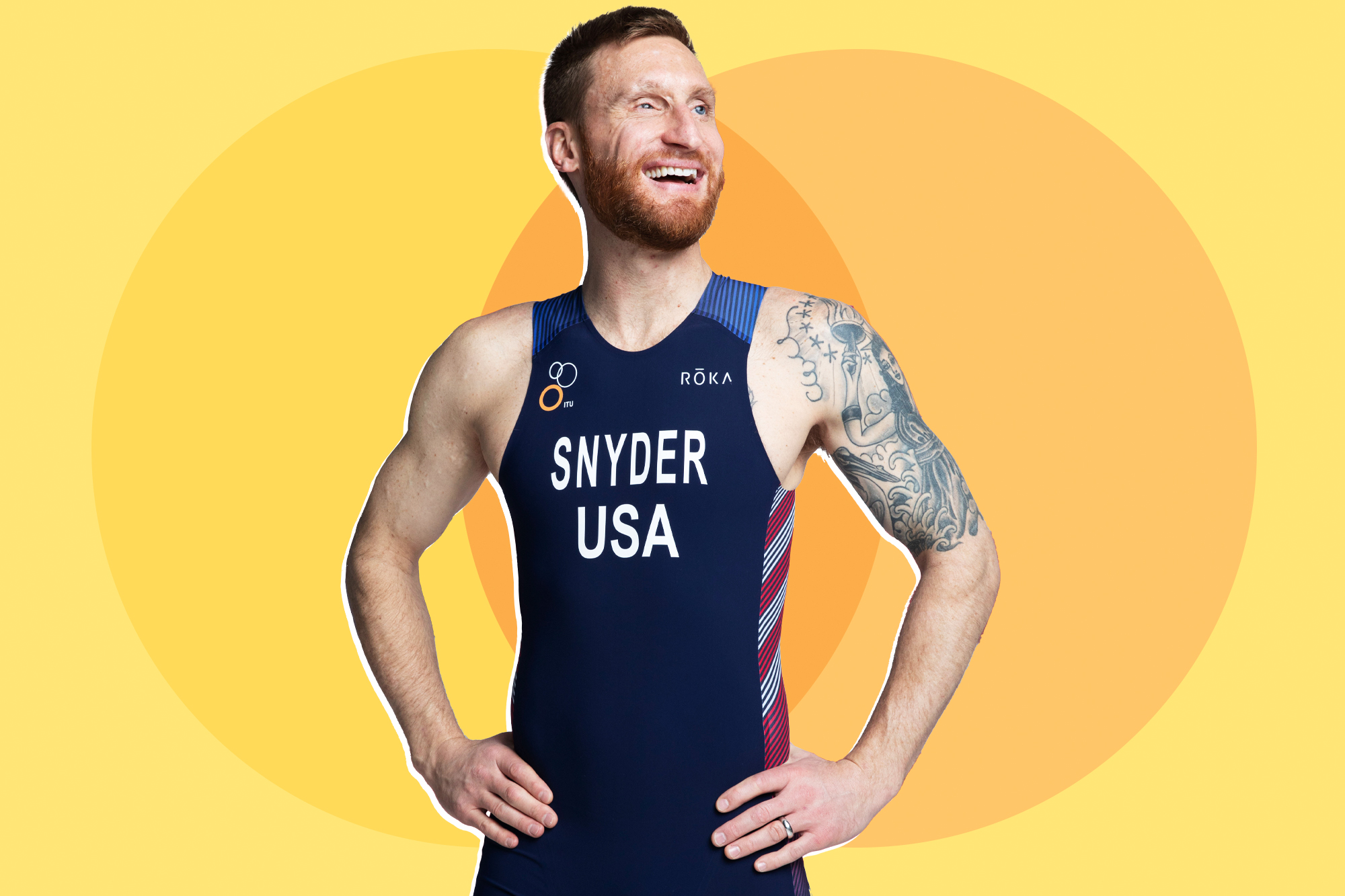 paralympic athlete Brad Snyder on a designed background