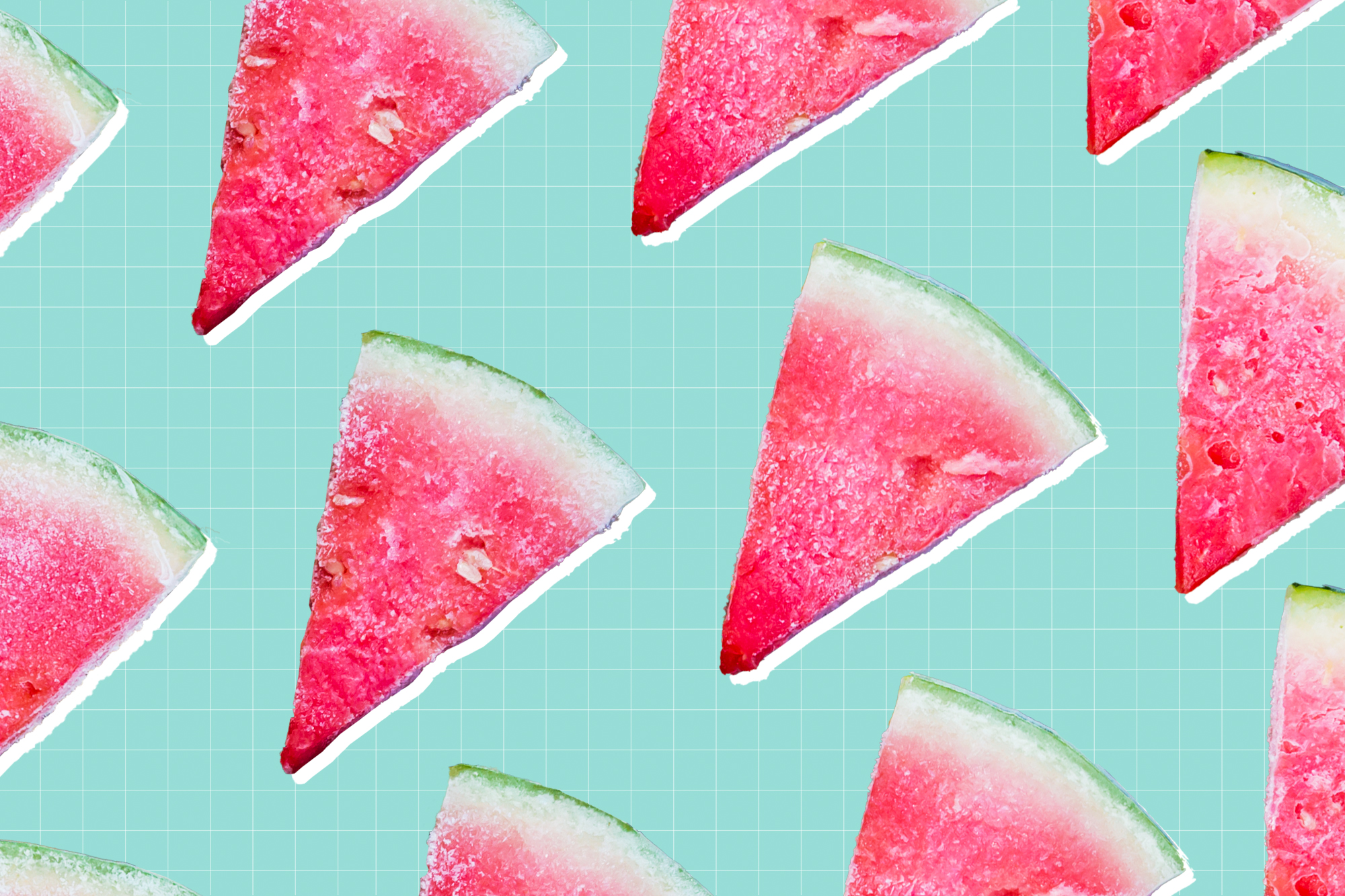 Frozen watermelon wedges on a designed background