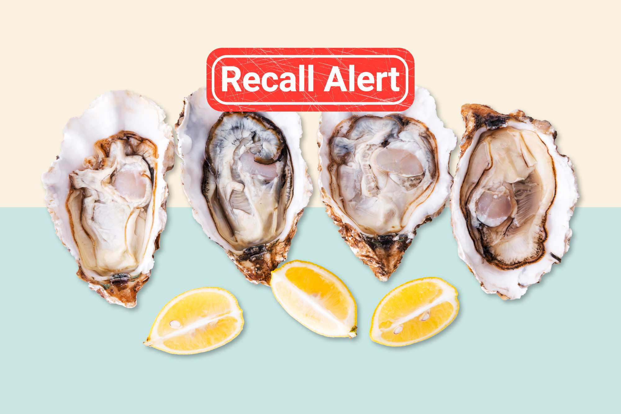 Raw oysters and lemons on a designed background with a recall button