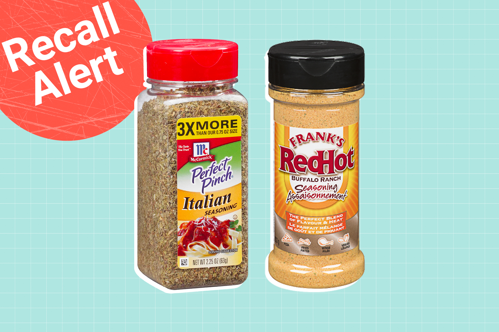 Frank's RedHot BUFFALO RANCH SEASONING BLEND and McCormick Perfect Pinch, Italian Seasoning on a designed background with a recall button