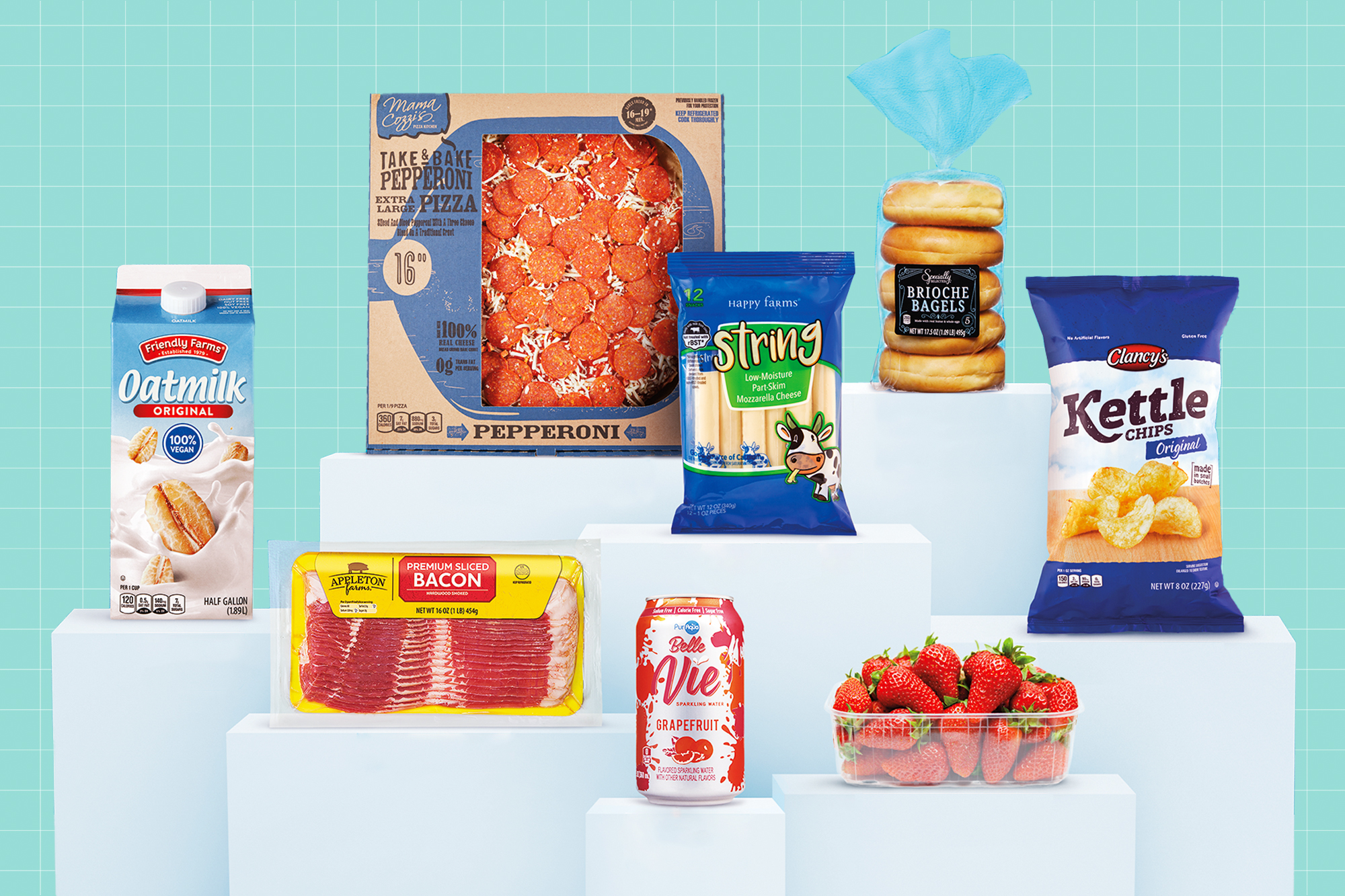 A collection of Aldi food products on pedestals on a designed background