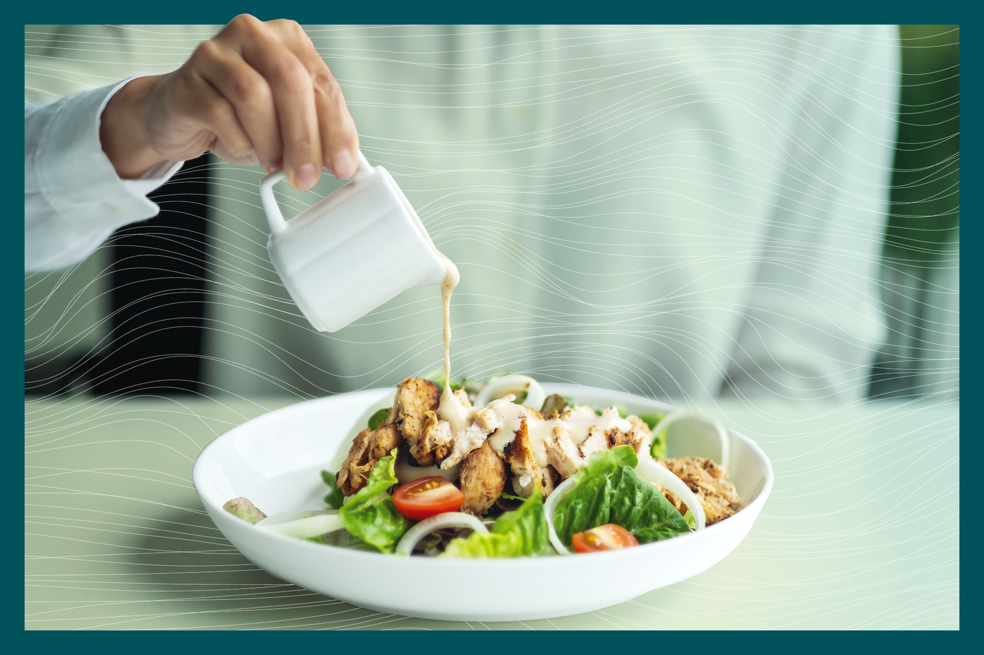a woman pouring dressing into a chicken salad