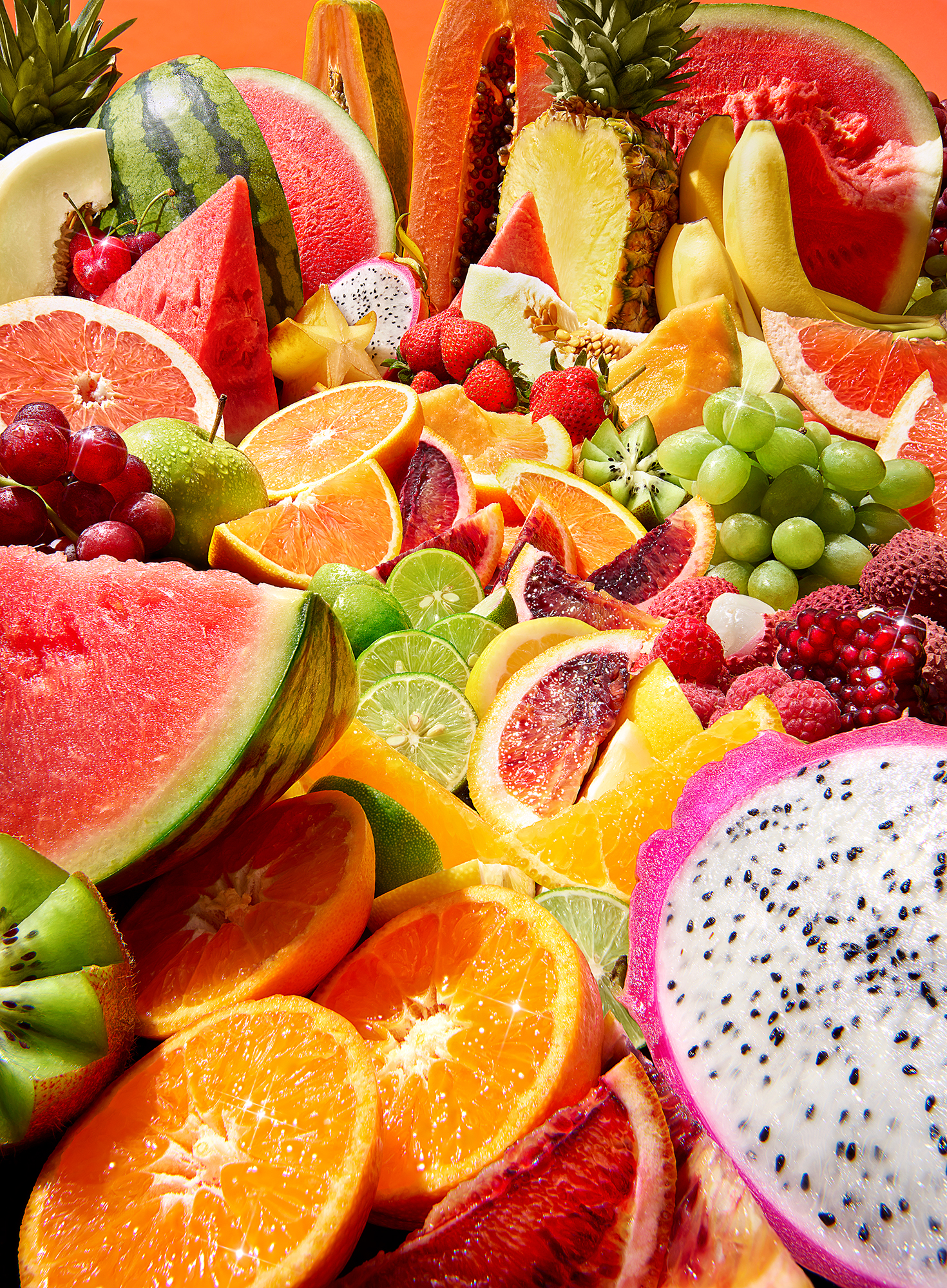 Aa landscape of different types of fruit brightly lit