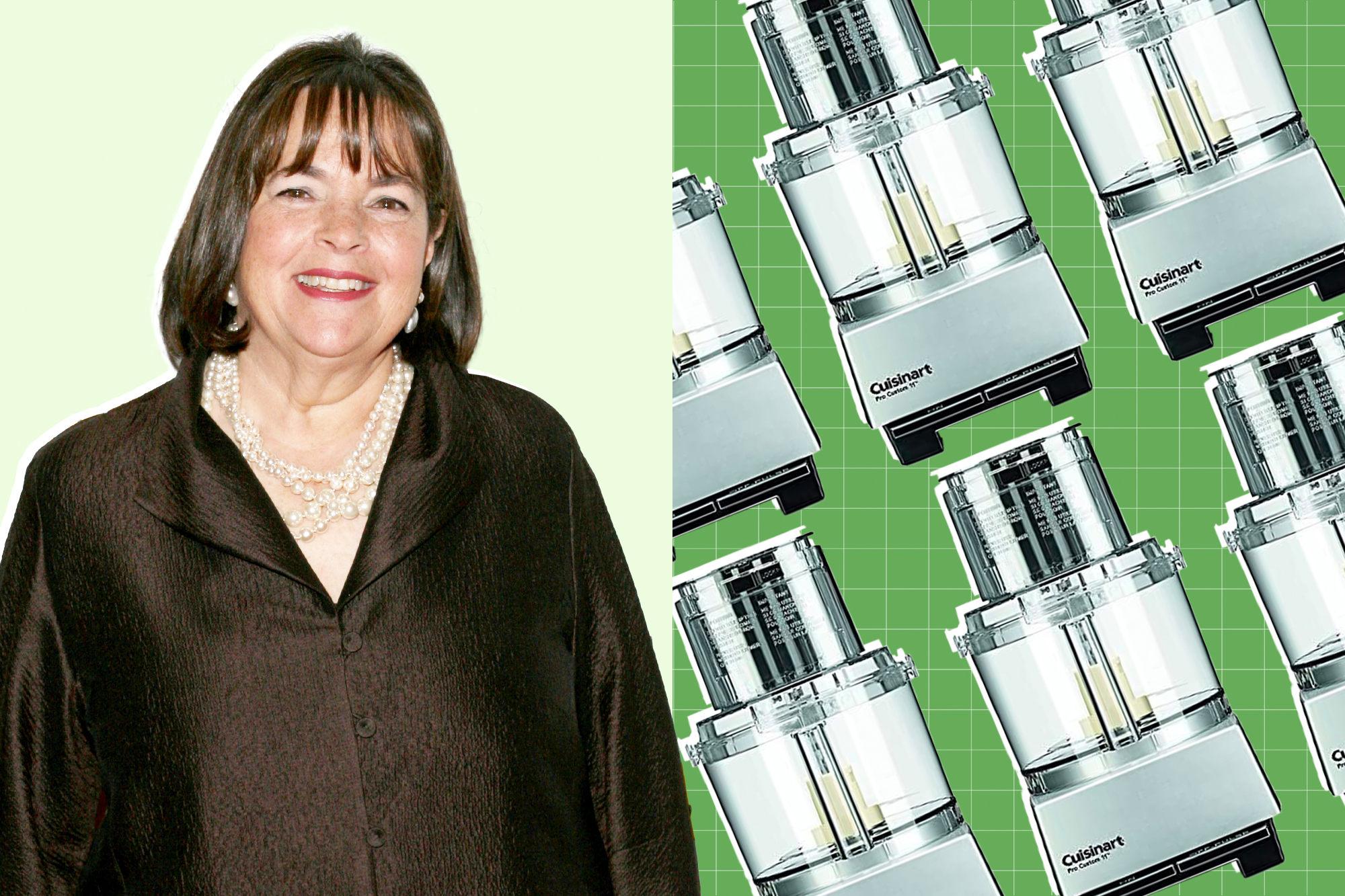 Ina Garten and Cuisinart DLC-8SBCY Pro Custom 11-Cup Food Processor on a designed background