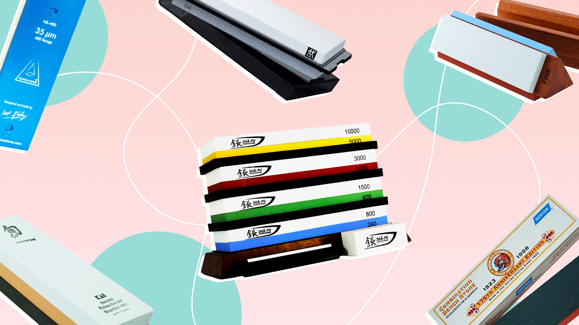 Sharpening stones from a variety of companies on a designed background