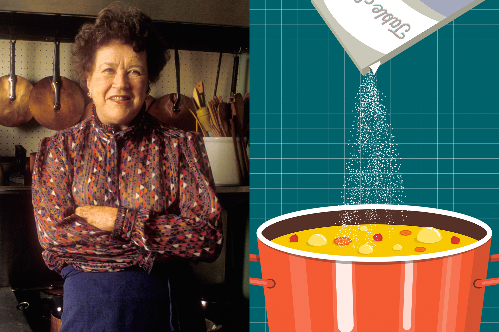 A portrait of Julia Child next to an illustration of a pot of soup with salt pouring into it