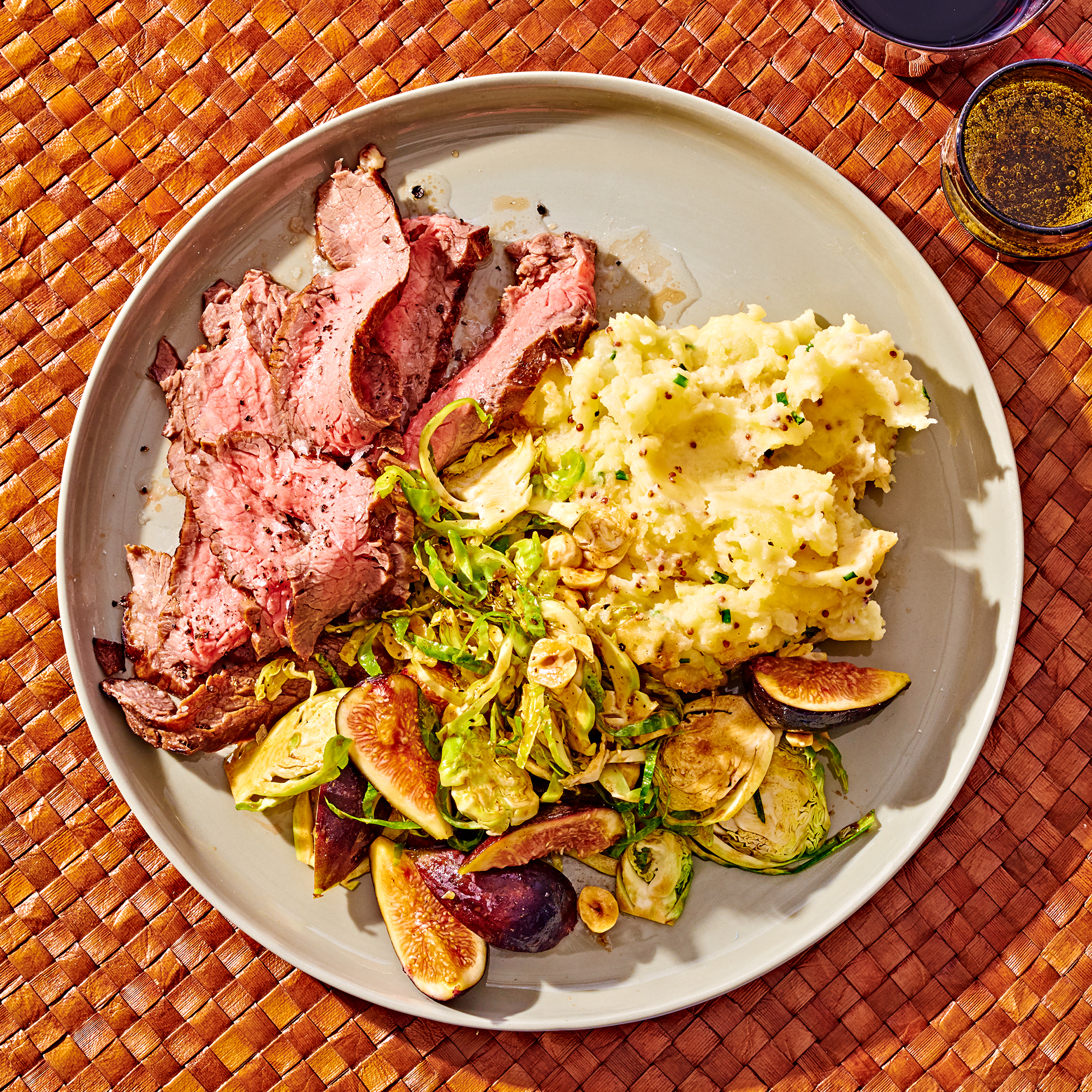 Balsamic Steak with Brussels Sprout Slaw & Mustard Mashed Potatoes