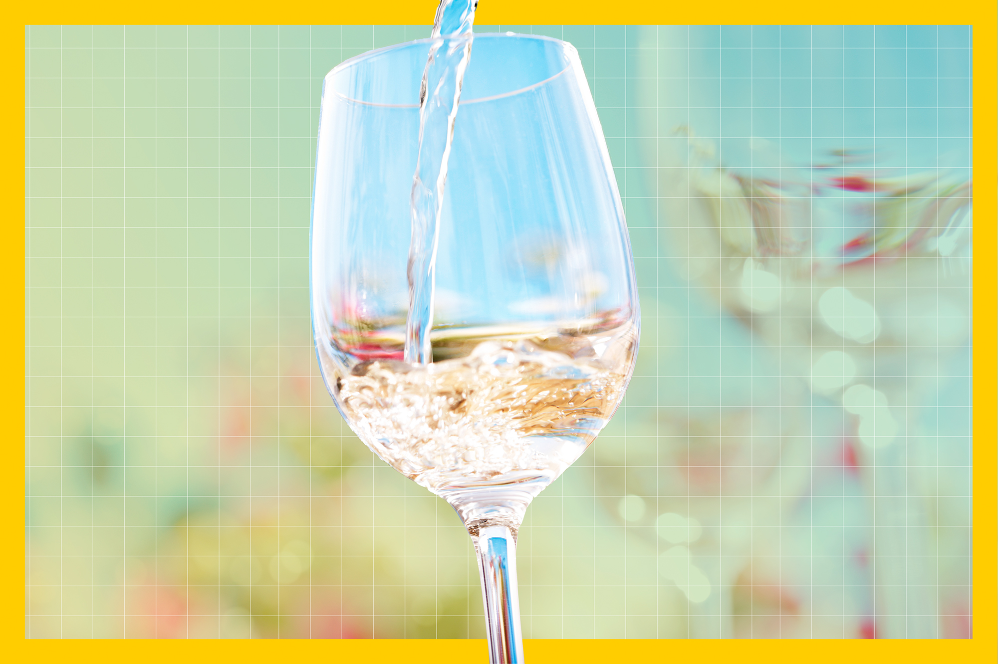 wine being poured into a wine glass on a hot summer day