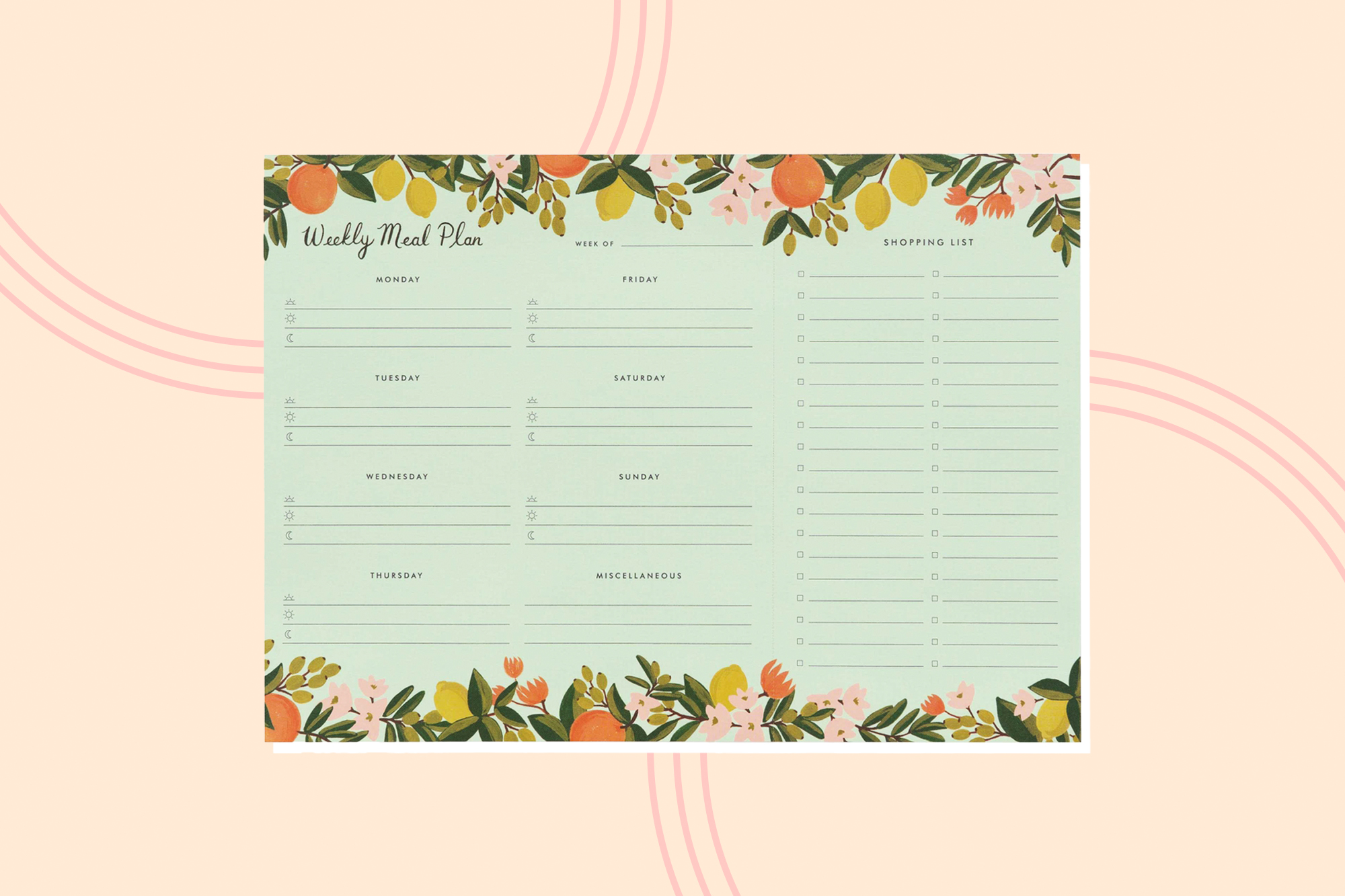 Rifle Paper Co. Weekly Meal Planner on a designed background