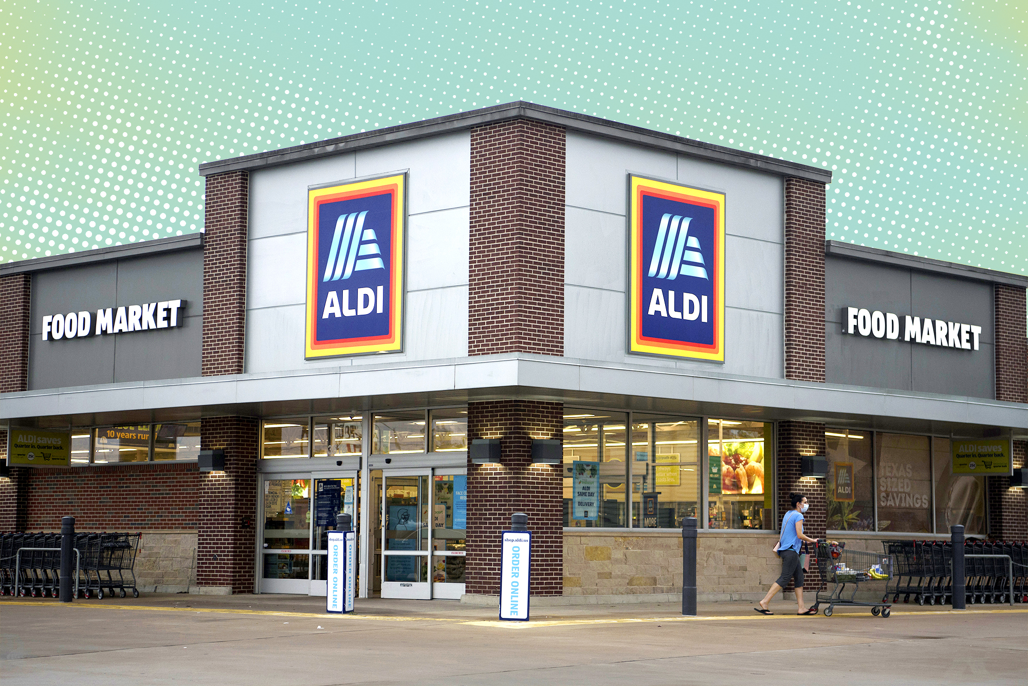 Aldi store front with a designed treatment in the background