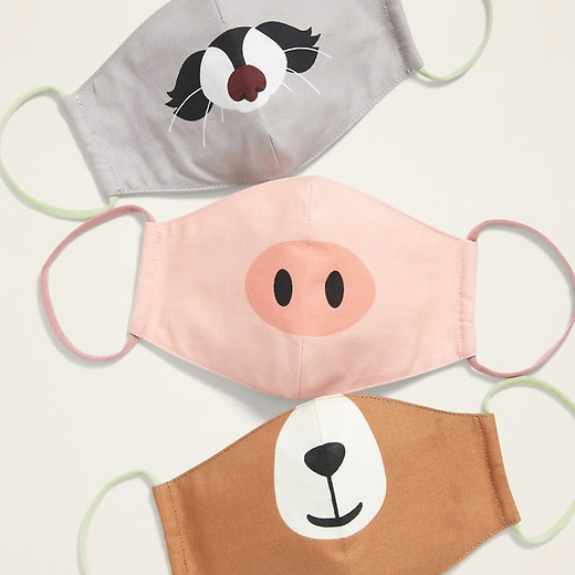Old Navy - Variety 3-Pack of Triple-Layer Cloth Contoured Critter Face Masks (with Laundry Bag) for Kids