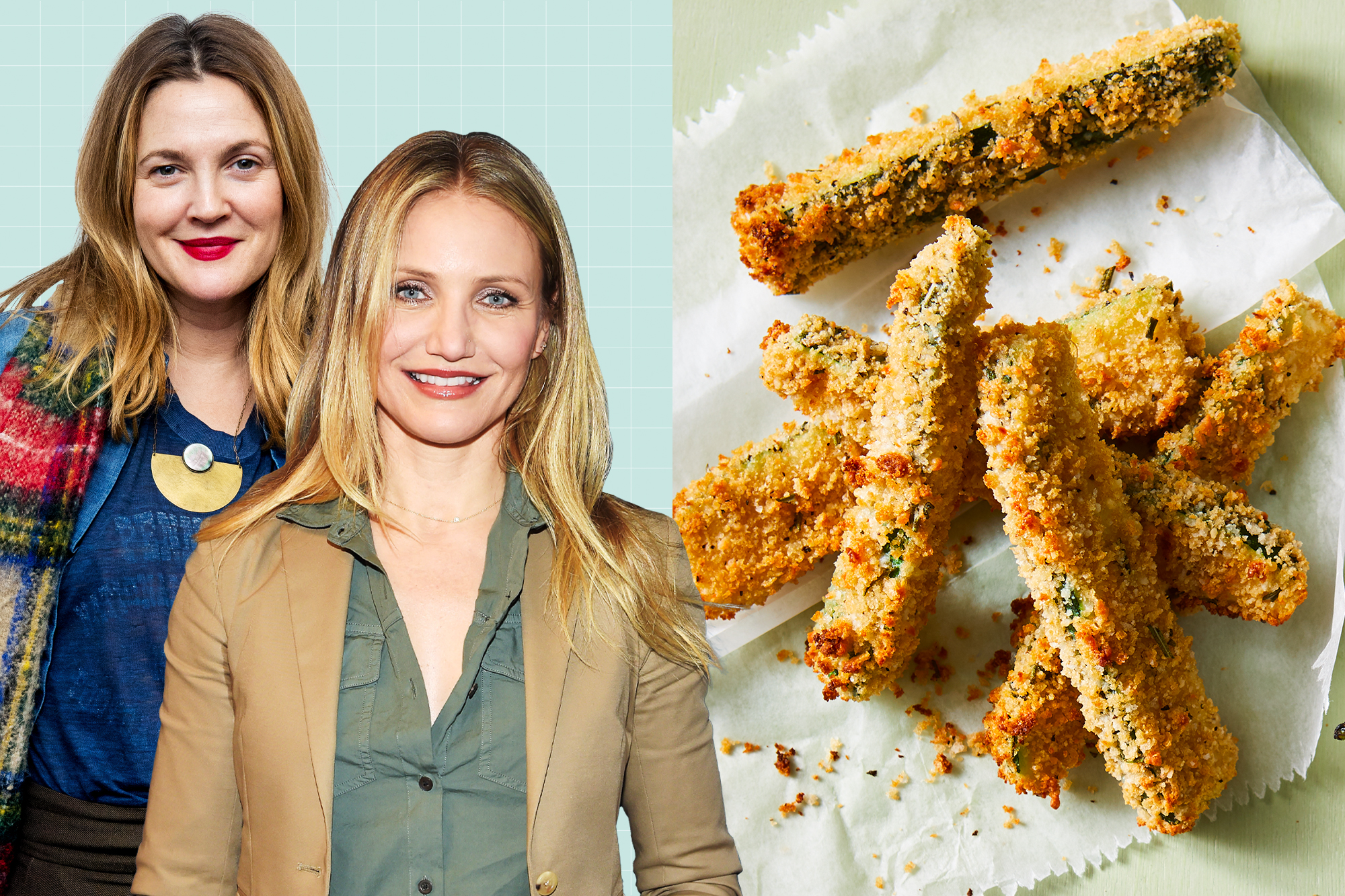 Cameron Diaz and Drew Barrymore on a designed background next to Parmesan-Rosemary Baked Zucchini Fries