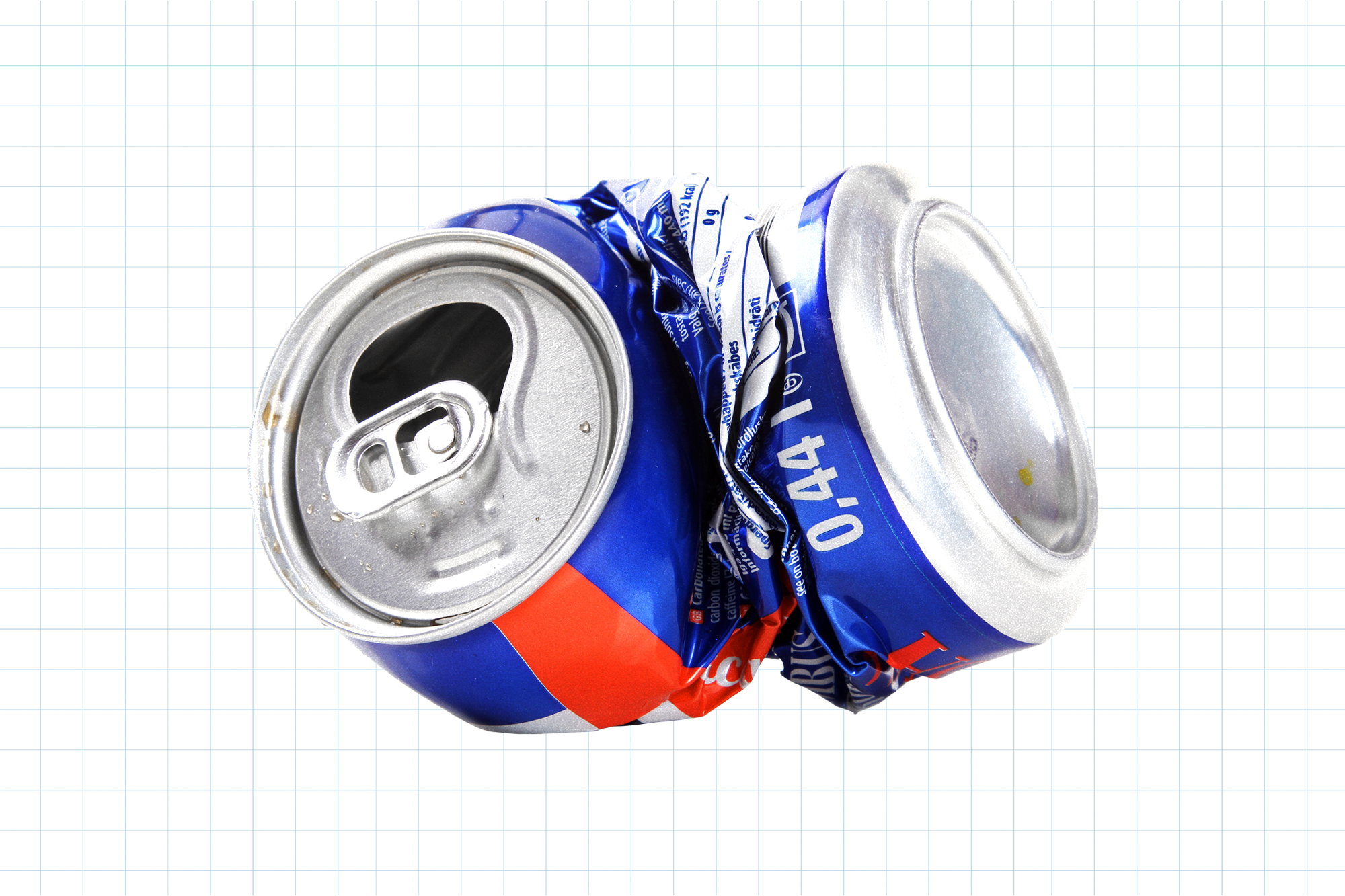 A crushed can on a white background with a blue grid